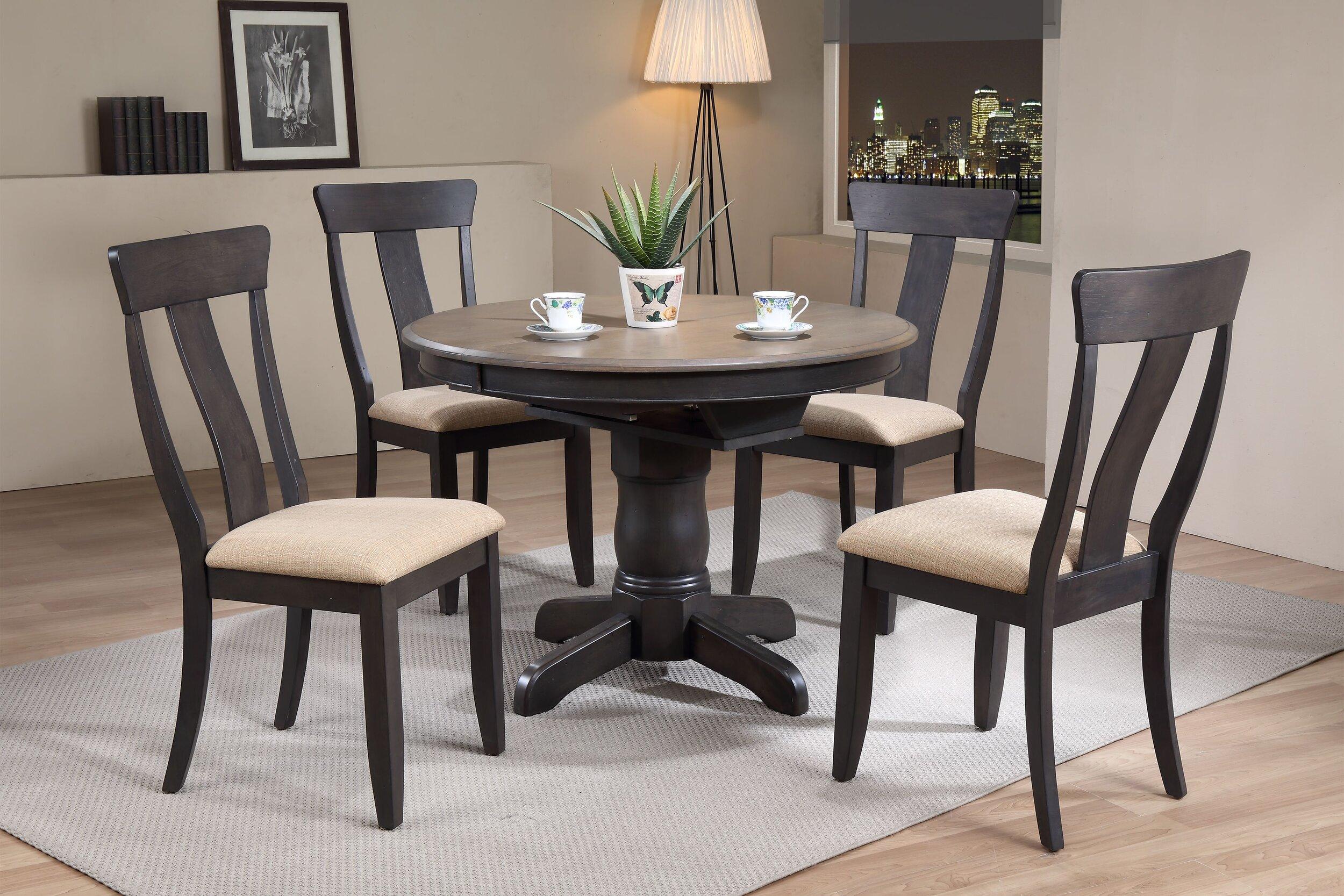 "42""x42""x60"" Round Antiqued Grey Stone Black Stone Panel Back Upholstered (5-Piece Dining Set)"