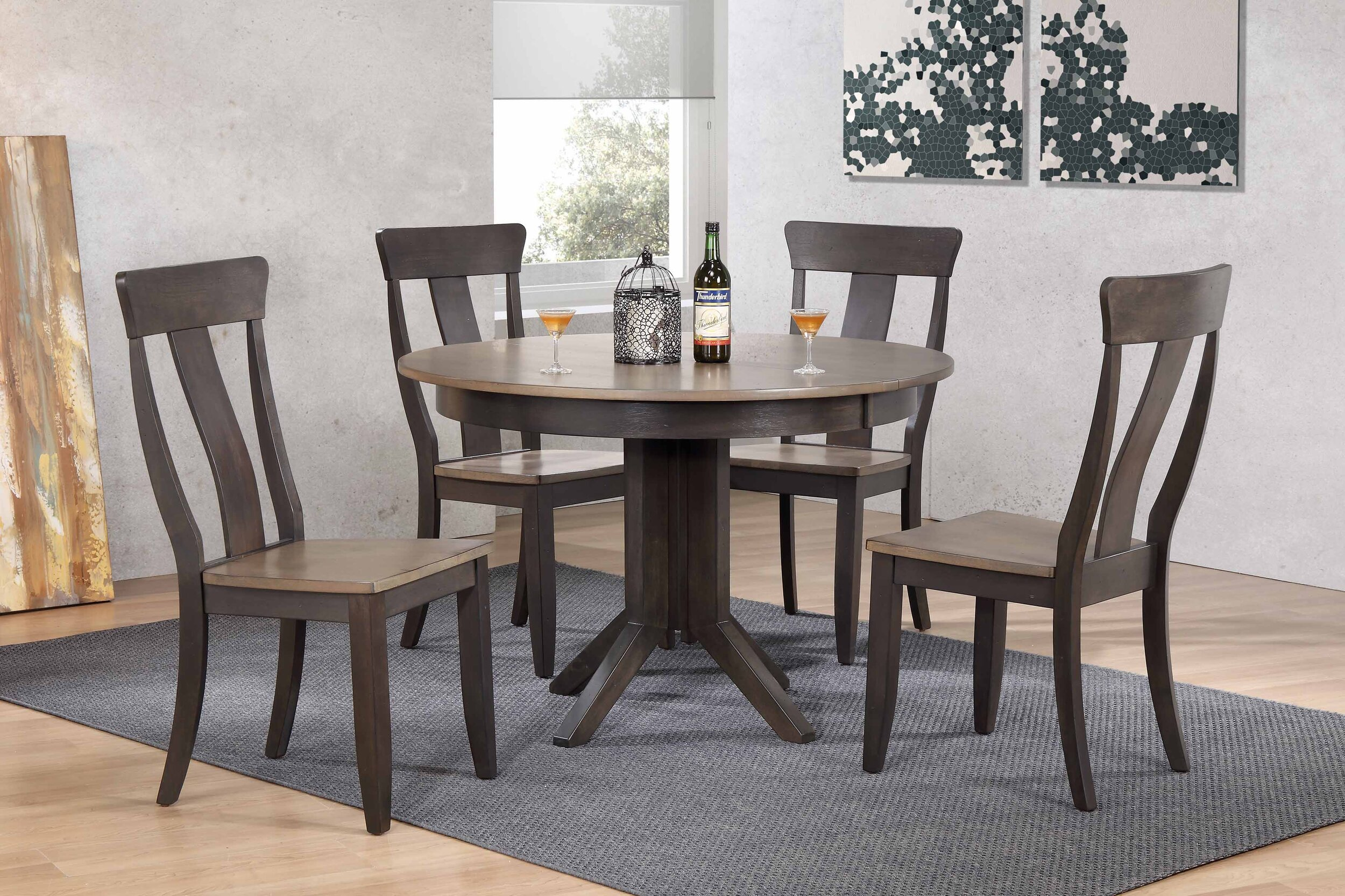 "45""x45""x63"" Contemporary Antiqued Grey Stone Black Stone Panel Back (5-Piece Dining Set)"