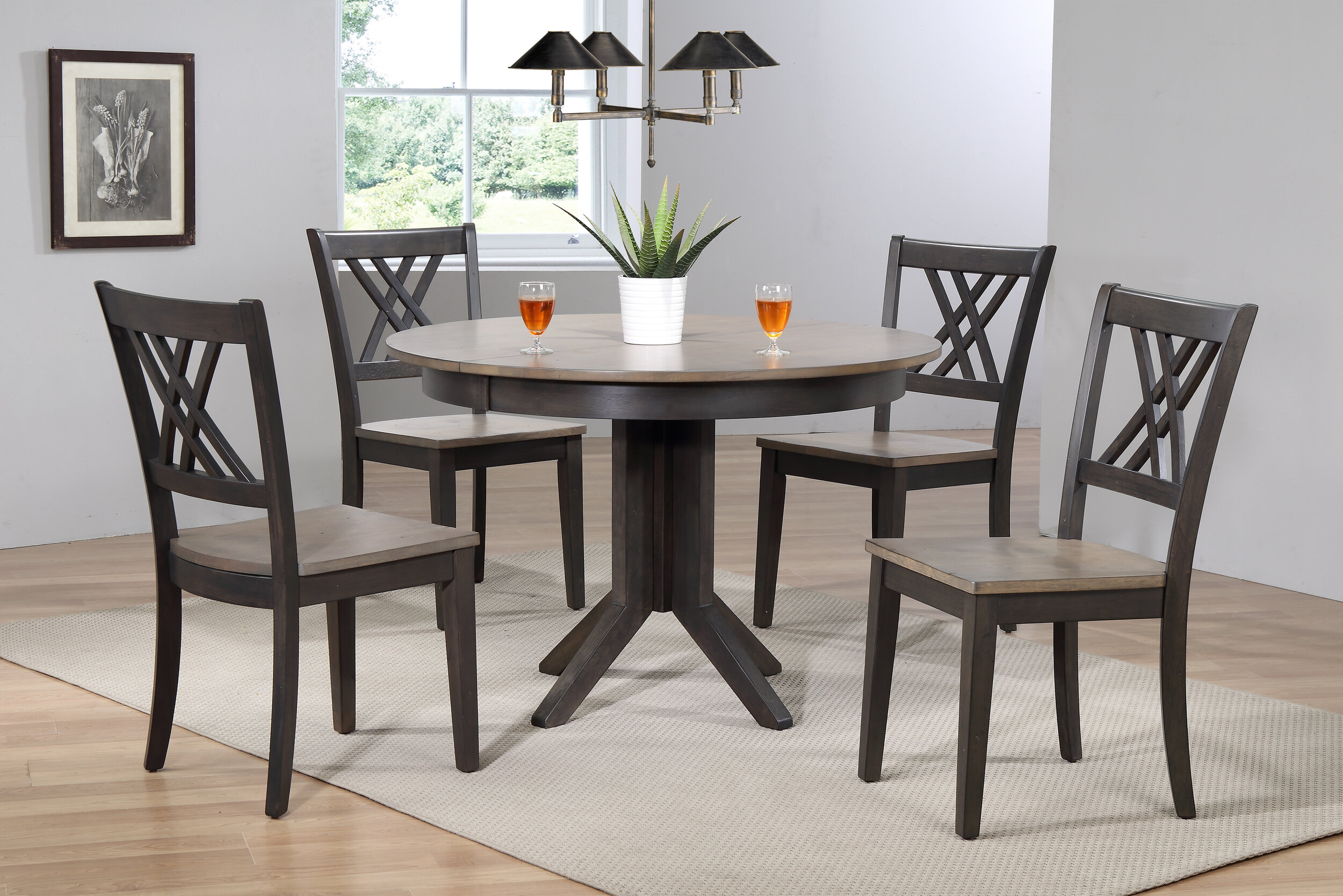 "45""x45""x63"" Contemporary Antiqued Grey Stone Black Stone Double X-Back (5-Piece Dining Set)"