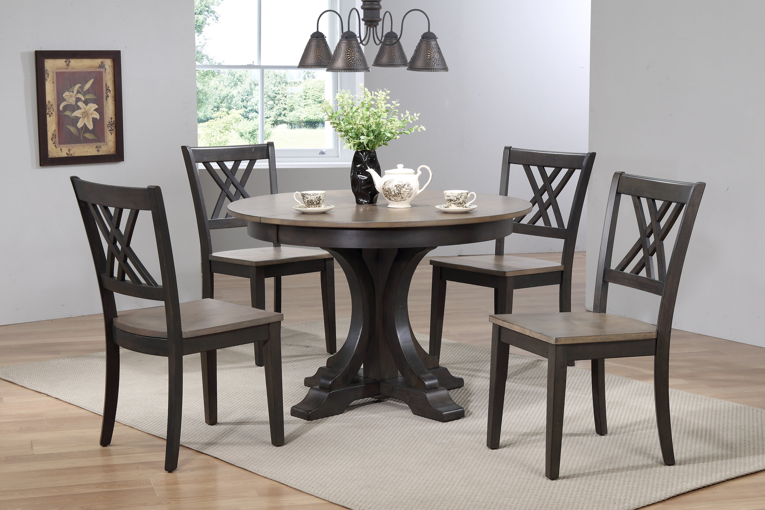 "45""x45""x63"" Deco Antiqued Grey Stone Black Stone Double X-Back (5-Piece Dining Set)"