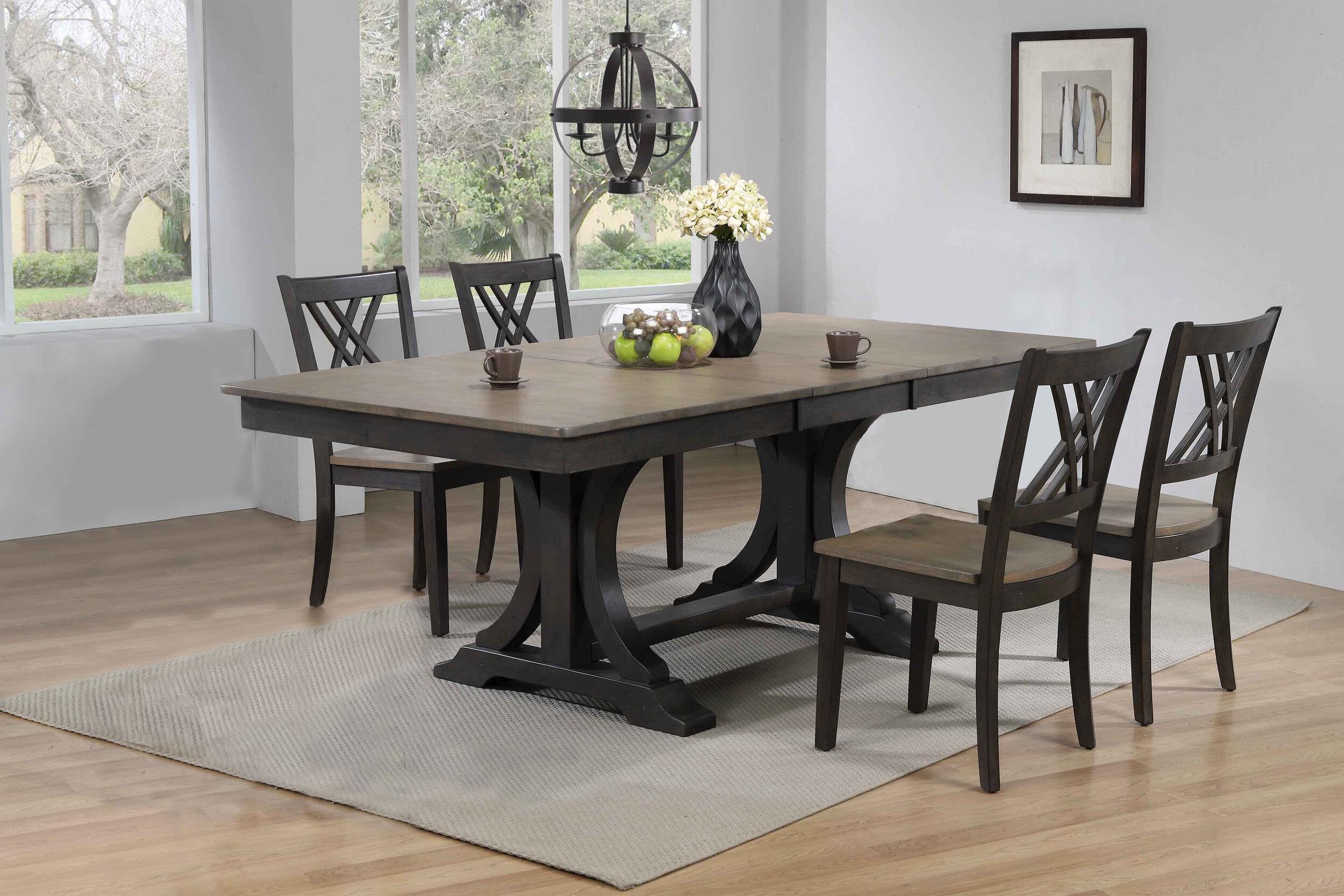 "42""x64""x82"" Double Pedestal Deco Antique Grey Stone Black Stone Double  X-Back (5-Piece Dining Set)"