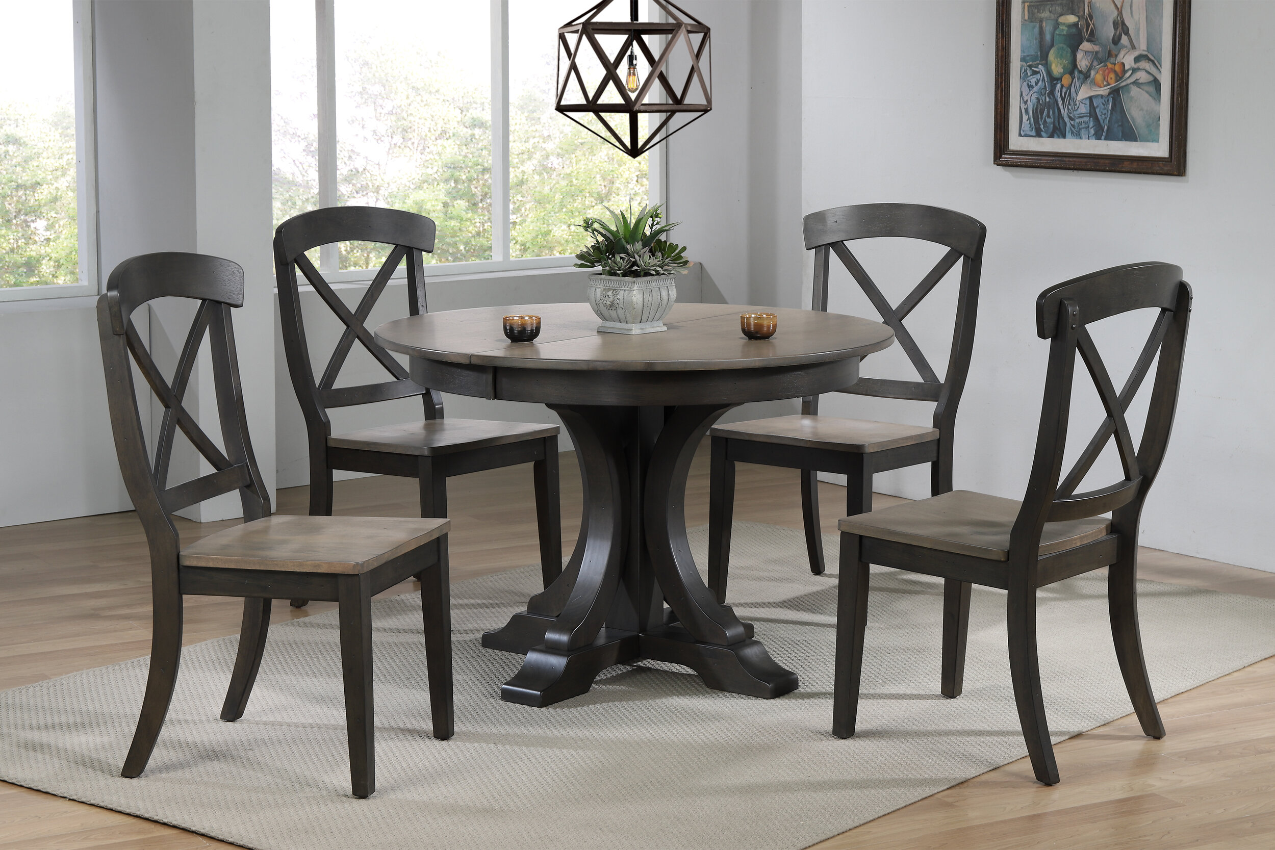 "45""x45""x63""Deco Antiqued Grey Stone Black Stone Transitional X-Back (5-Piece Dining Set)"