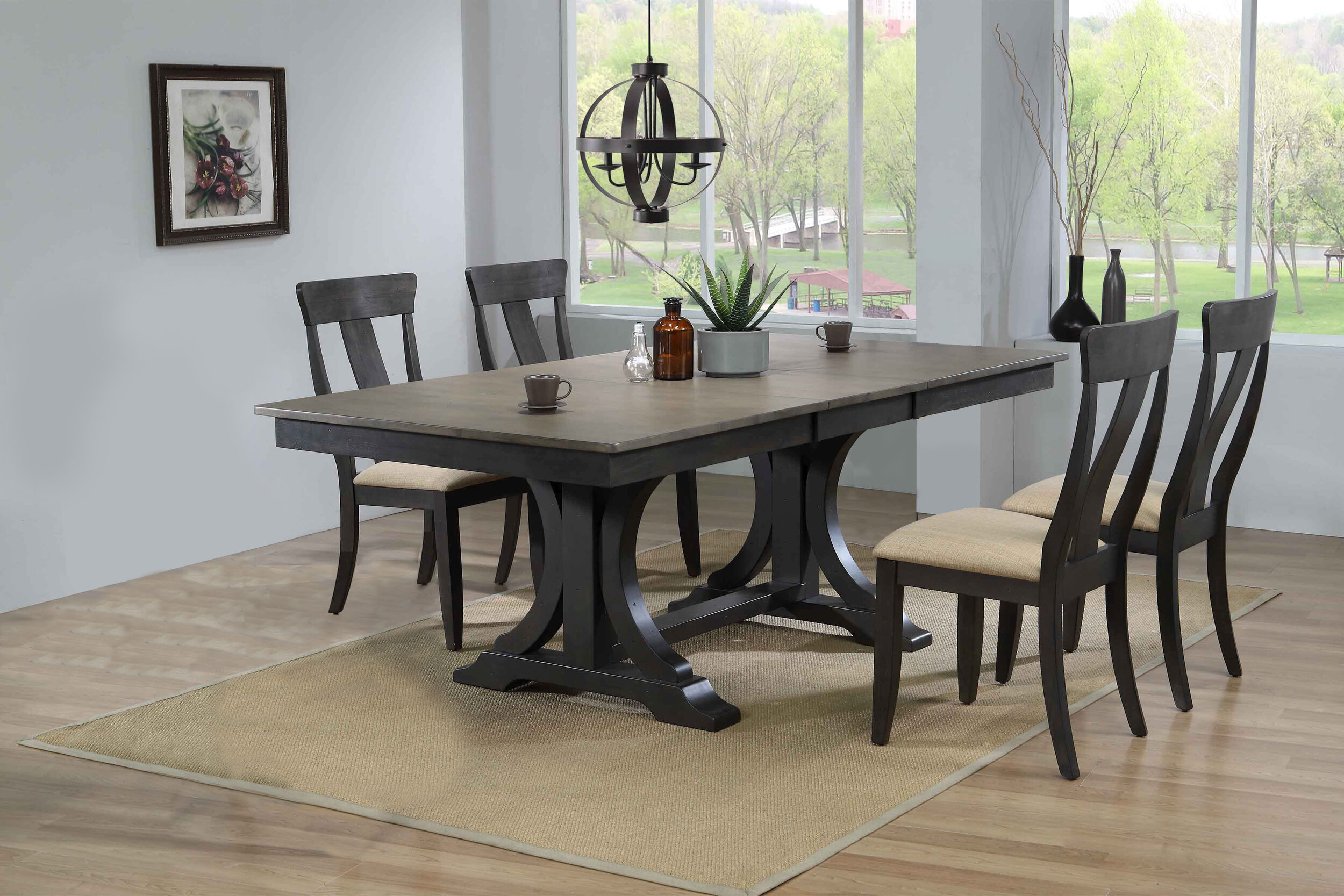 "42""x64""x82"" Double Pedestal Deco Antique Grey Stone Black Stone Upholstered Panel Back  (5-Piece Dining Set)"