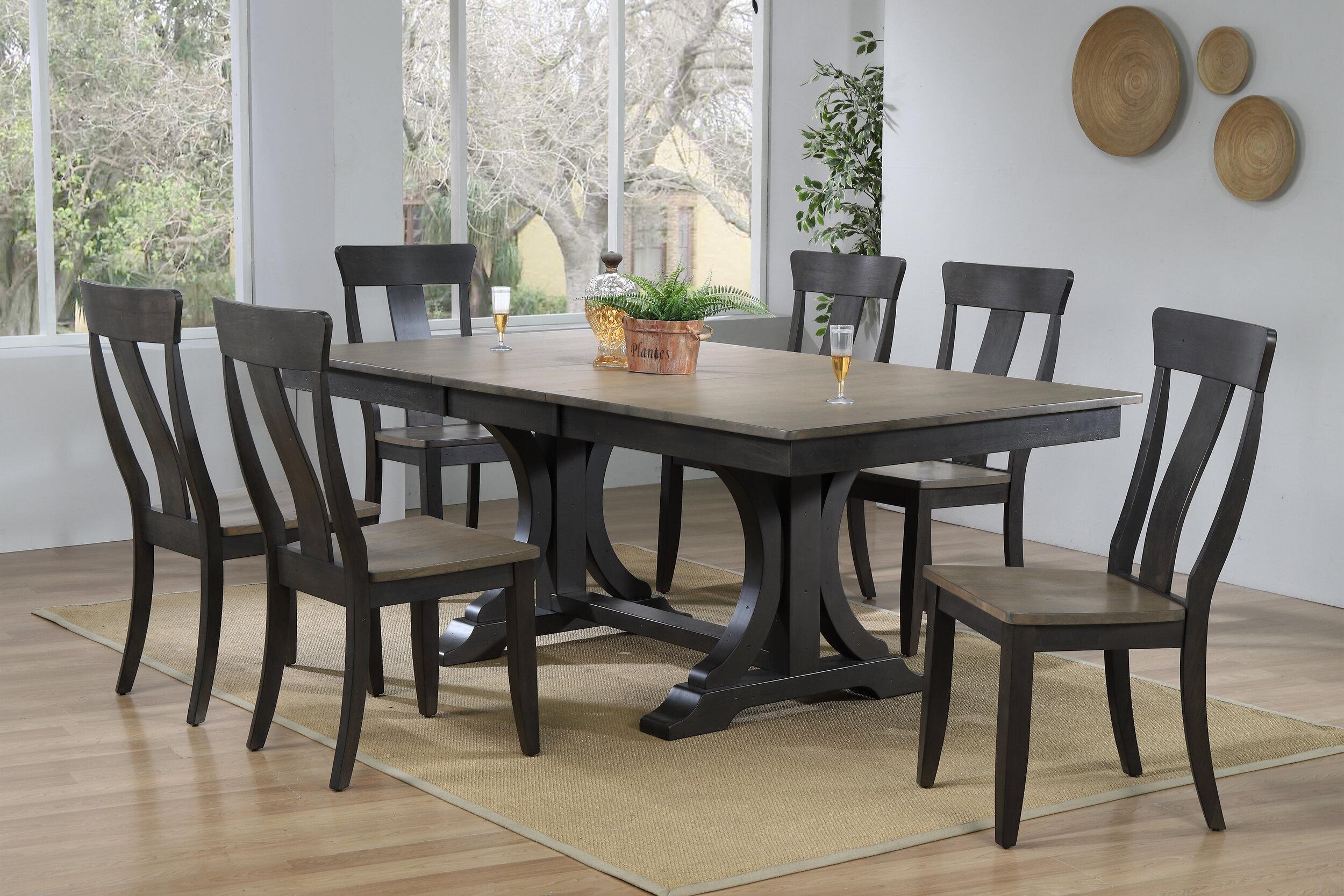 "42""x64""x82"" Double Pedestal Deco Antique Grey Stone Black Stone Panel Back  (7-Piece Dining Set)"