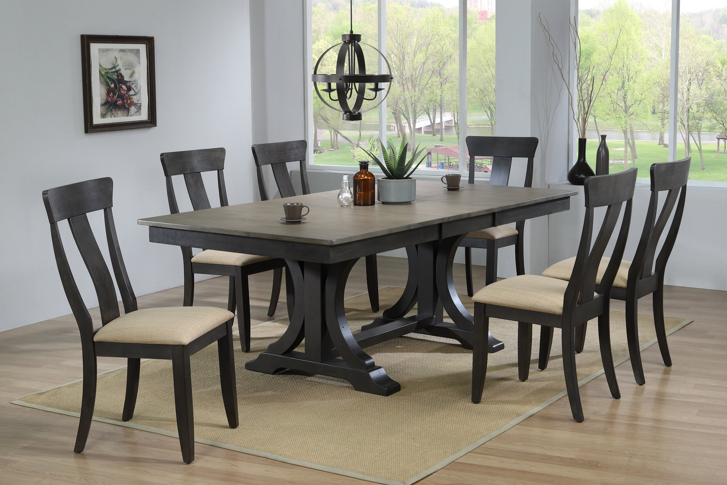 "42""x64""x82"" Double Pedestal Deco Antique Grey Stone Black Stone Upholstered Panel Back (7-Piece Dining Set)"