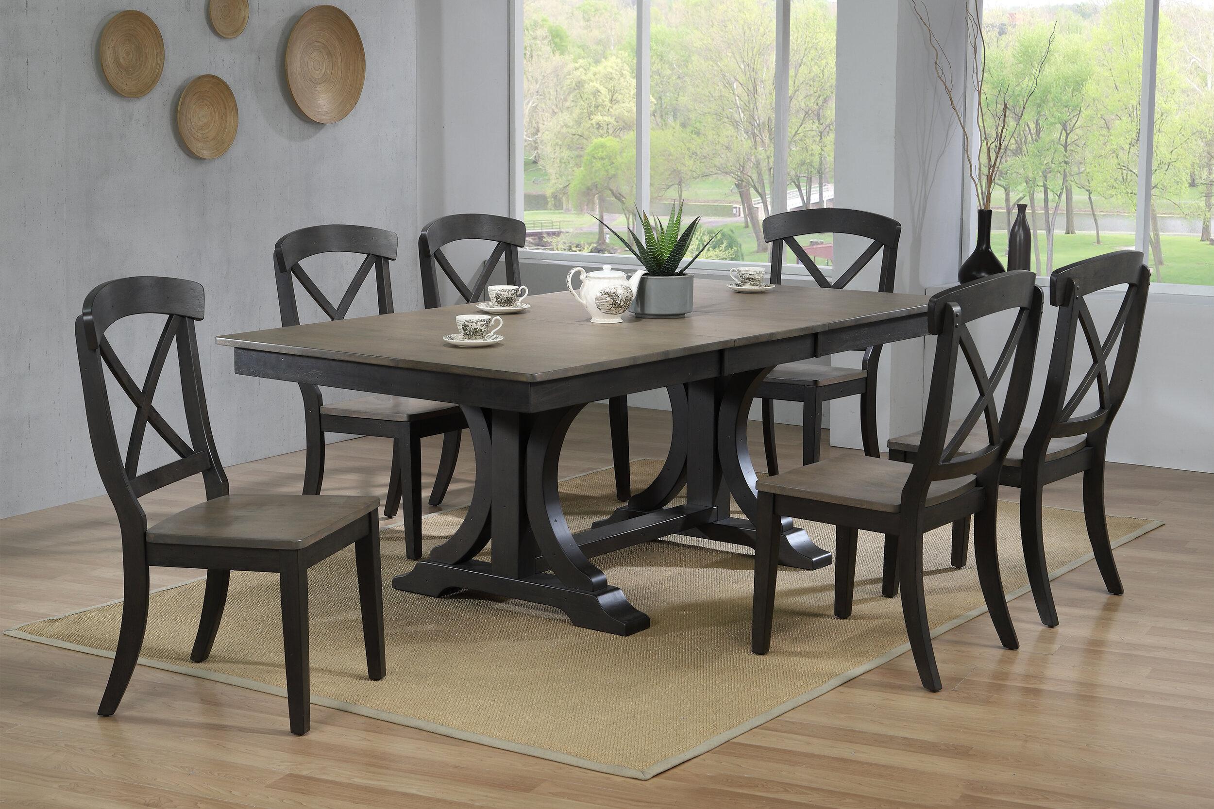 "42""x64""x82"" Double Pedestal Deco Antique Grey Stone Black Stone Transitional X-Back  (5-Piece Dining Set)"