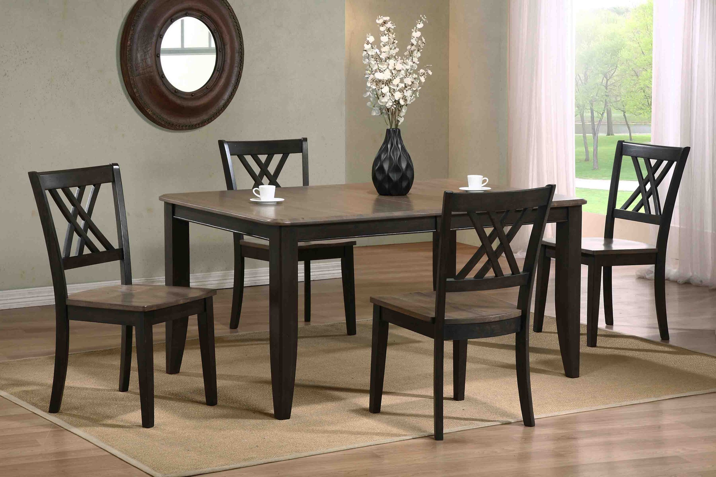 "40""x60""x78"" Rectangle Antiqued Grey Stone Black Stone Double X- Back (5-Piece Dining Set)"