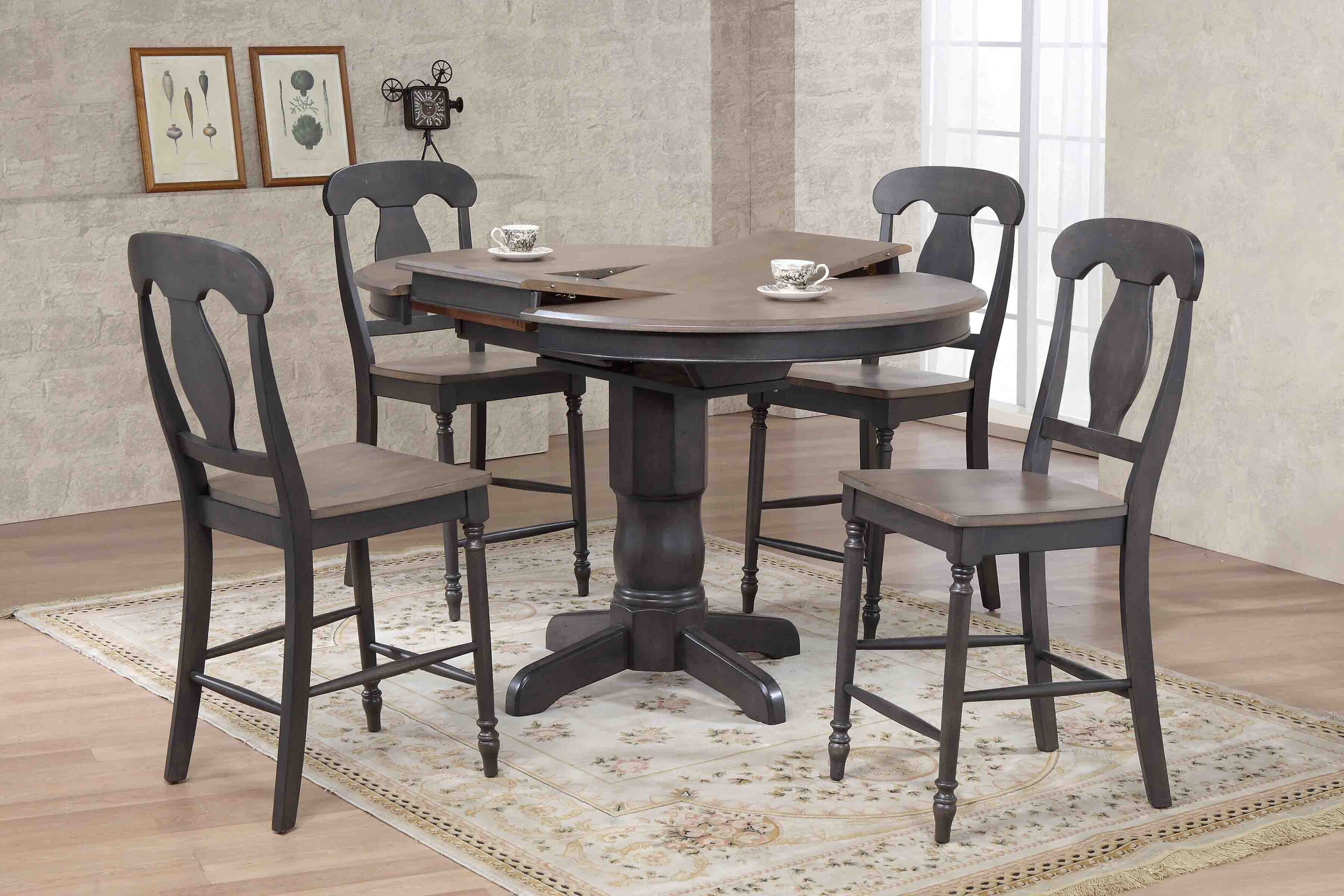 Antiqued Grey Stone Black Stone Napoleon Back Counter Height (5-Piece Dining Set)