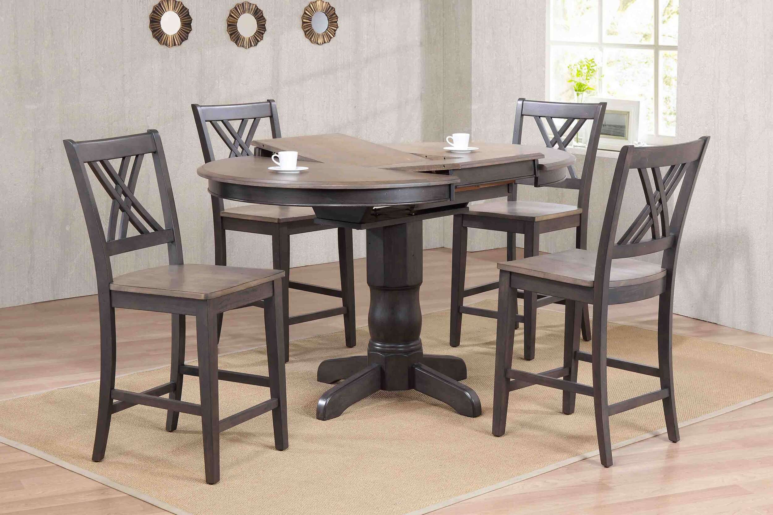 Antiqued Grey Stone Black Stone Double X- Back Counter Height (5-Piece Dining Set)