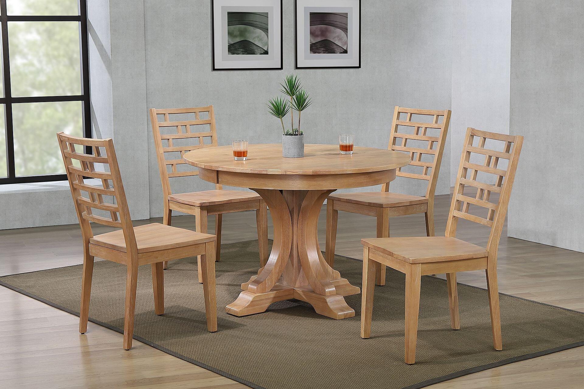 "45""x45""x63"" Art Deco Hampton Beech Designer Back Chairs Dining Set"