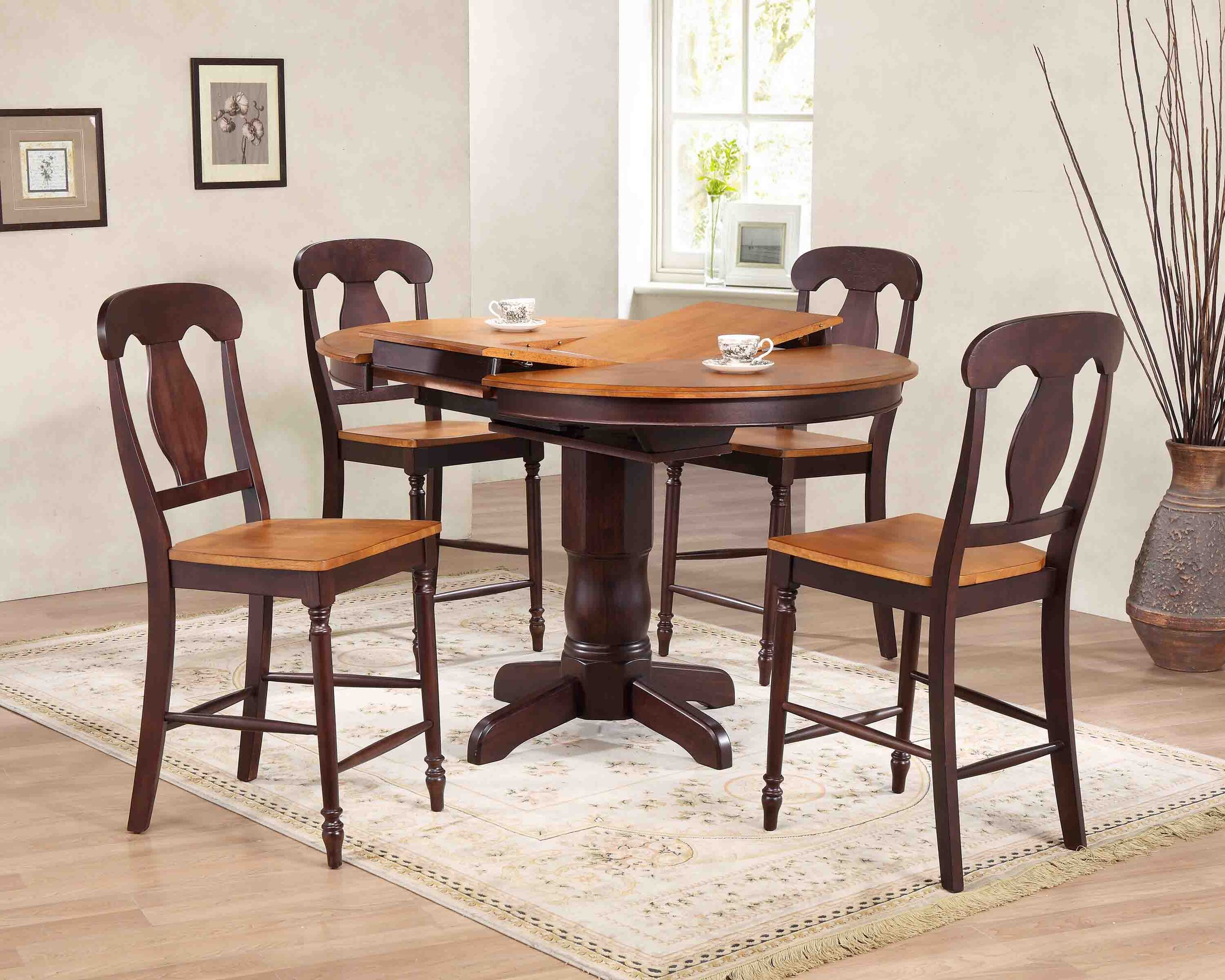 "42""x42""x60"" Whiskey Mocha Napoleon Back Counter Height (5-Piece Dining Set)"