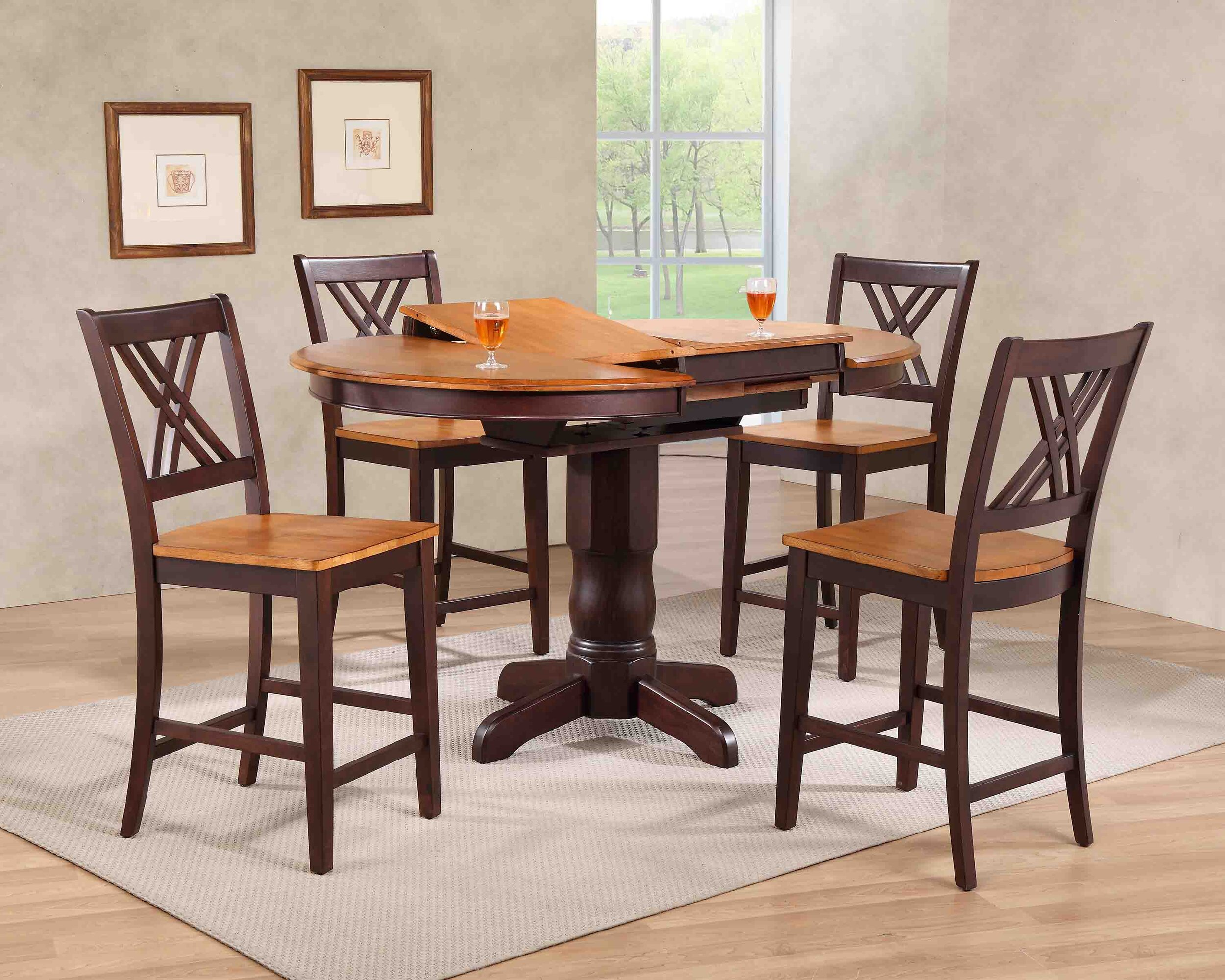"42""x42""x60"" Whiskey Mocha Double X- Back Counter Height (5-Piece Dining Set)"