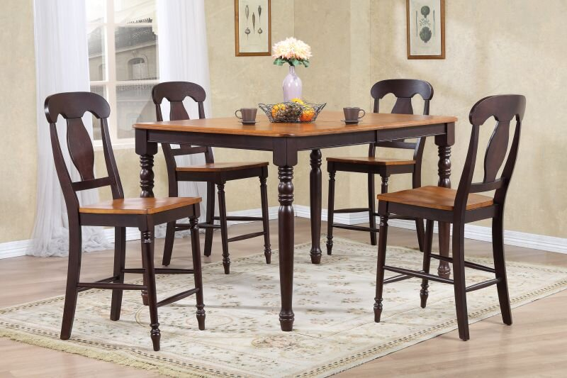 "40"" x 60"" x 78"" Whiskey Mocha Napoleon Back Counter Height (5-Piece Dining Set)"