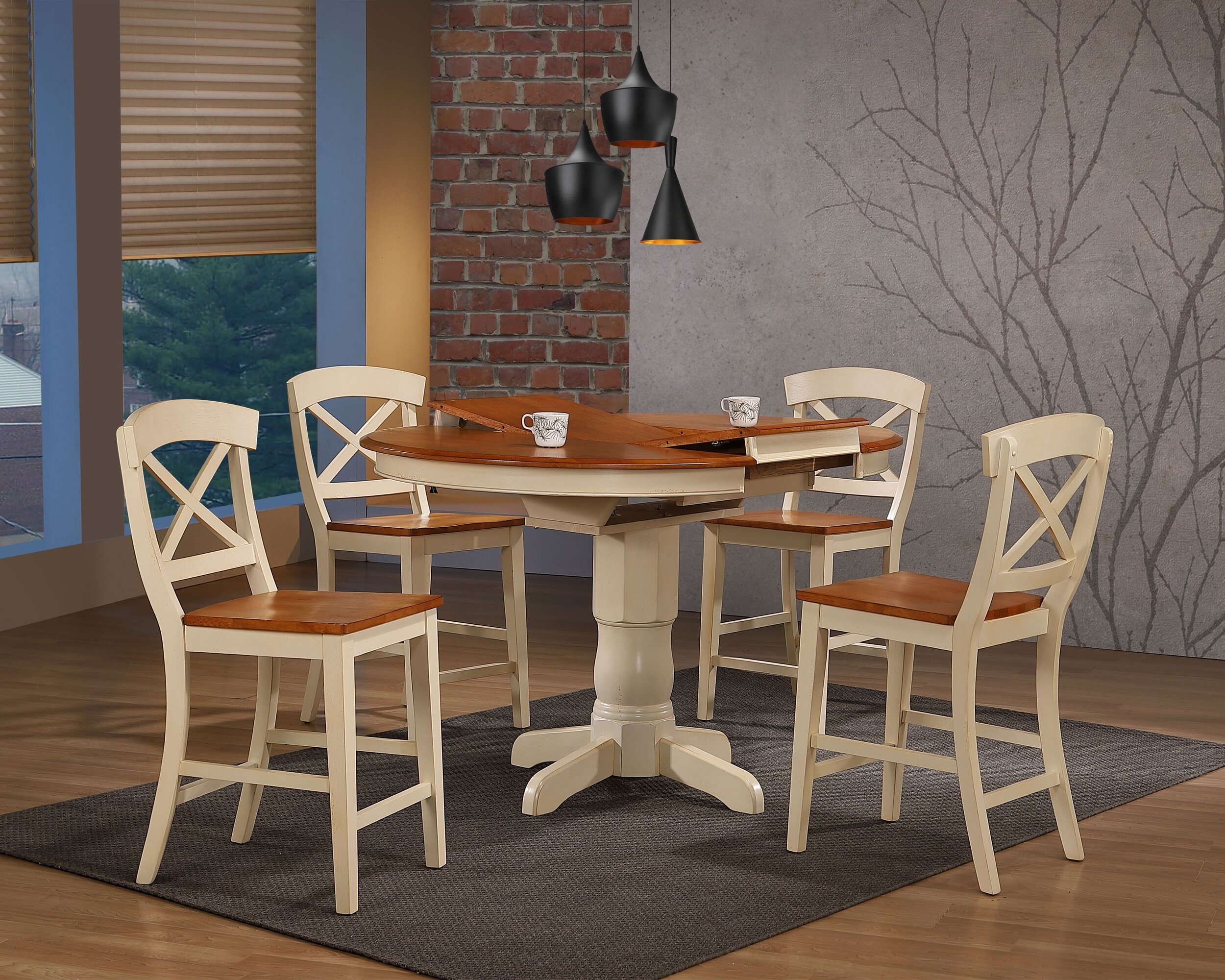 "42""x42""x60"" Transitional X-Back 24""Counter Stool Caramel  Biscotti Counter Height 5-Piece Dining Set"