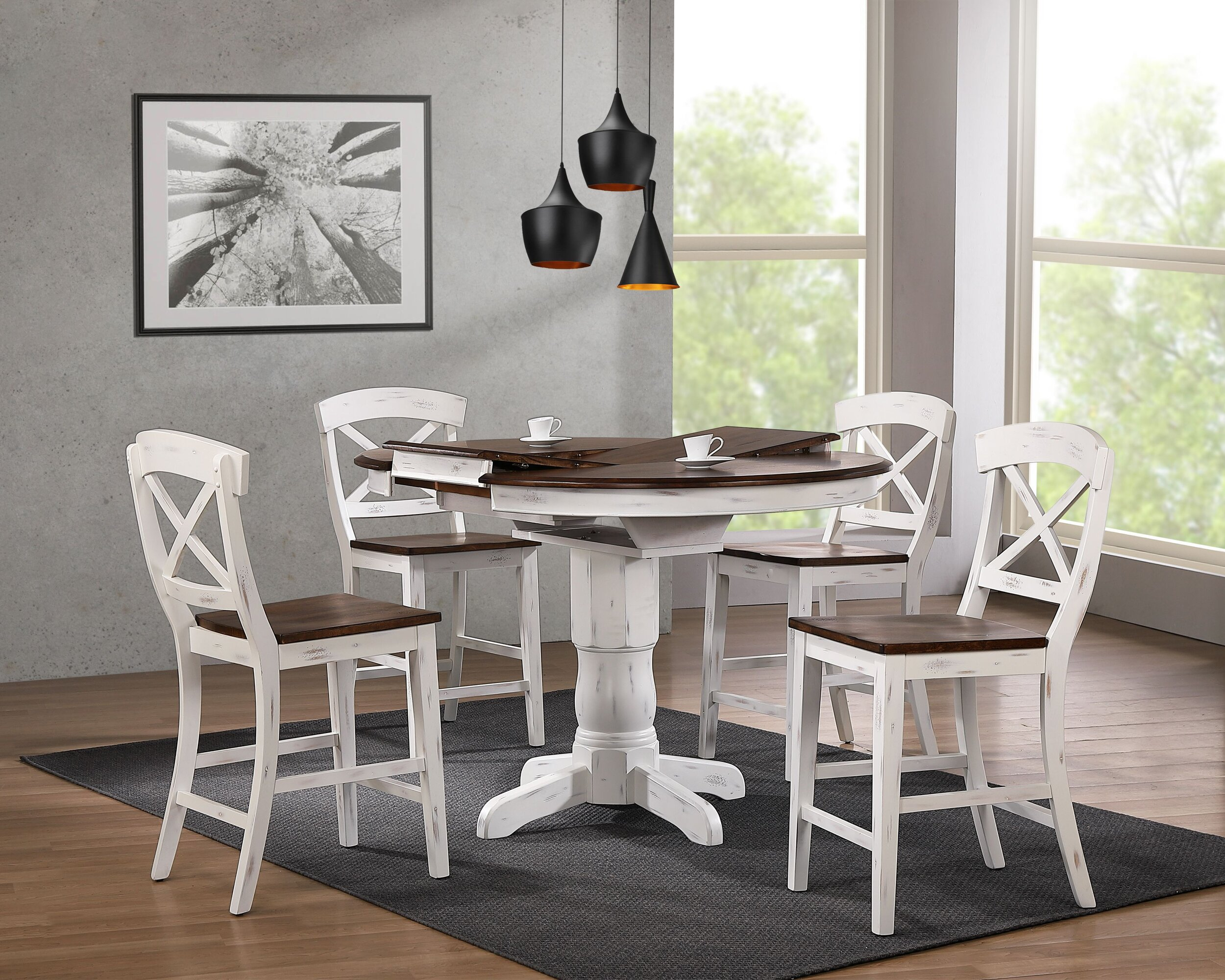 "42""x42""x60"" Transitional X-Back 24""Counter Stool Cocoa Brown Distressed Cotton White/ Distressed  Counter Height 5-Piece Dining Set"