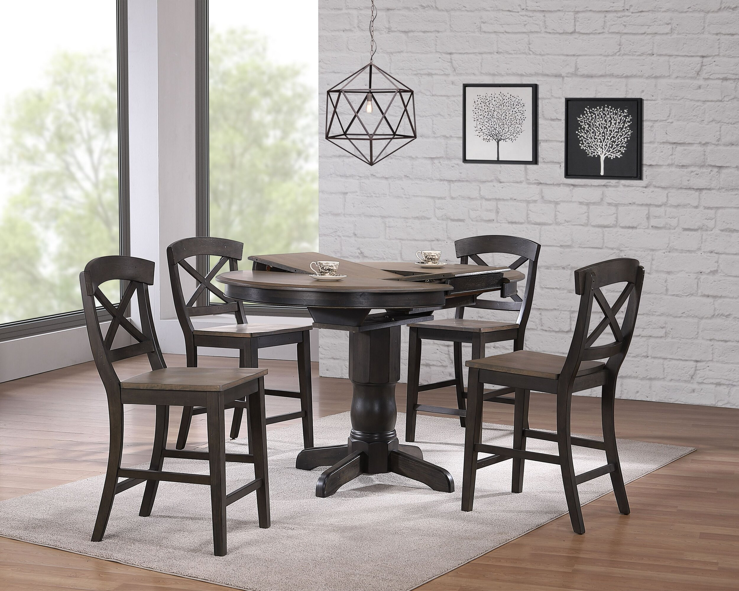 "42""x42""x60"" Transitional X-Back 24""Counter Stool Grey Stone Black Stone  Counter Height 5-Piece Dining Set"