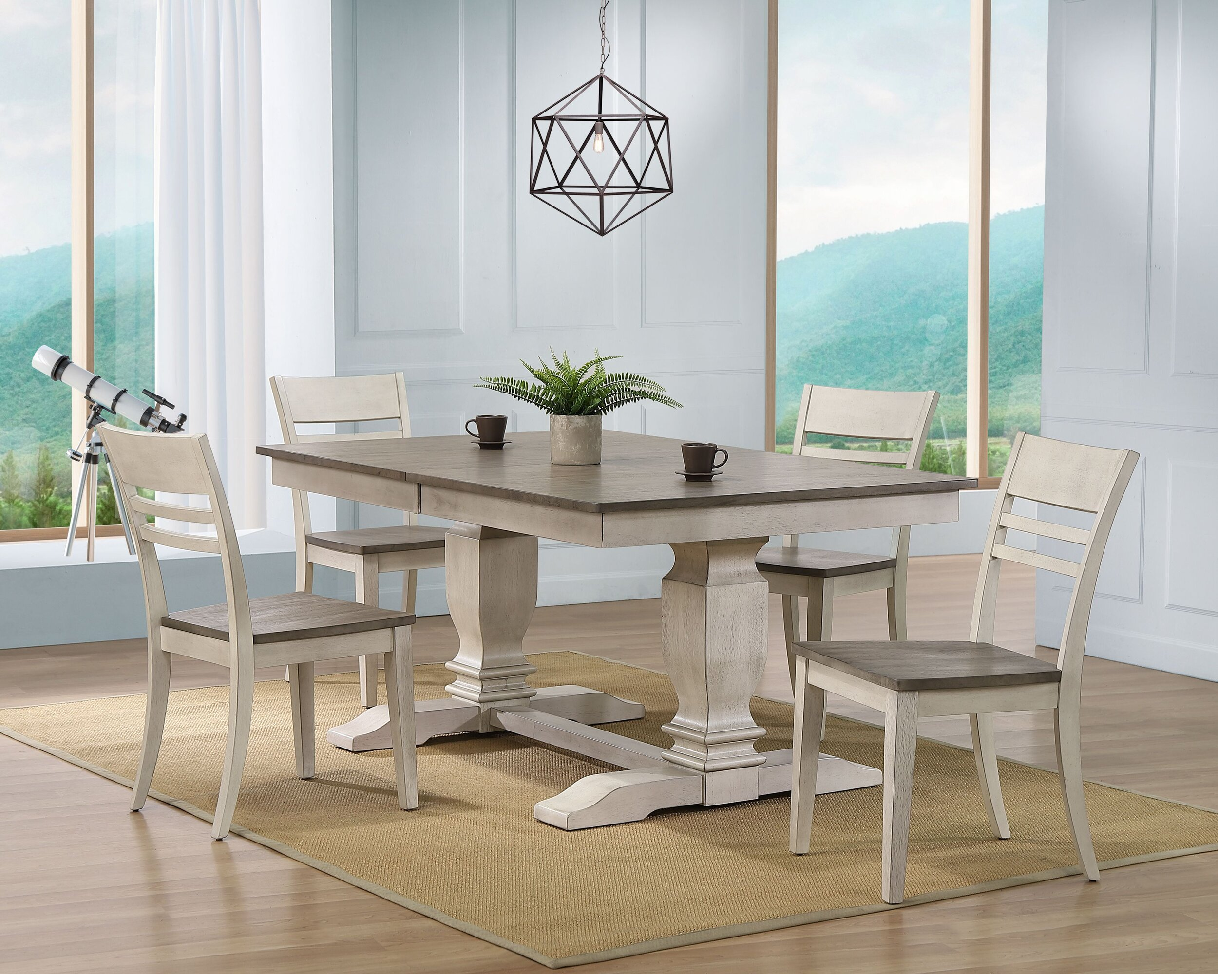 "42""x64""x82"" Double Pedestal Transitional Dining Side chair Ash/Stormy White 5-Piece Set"