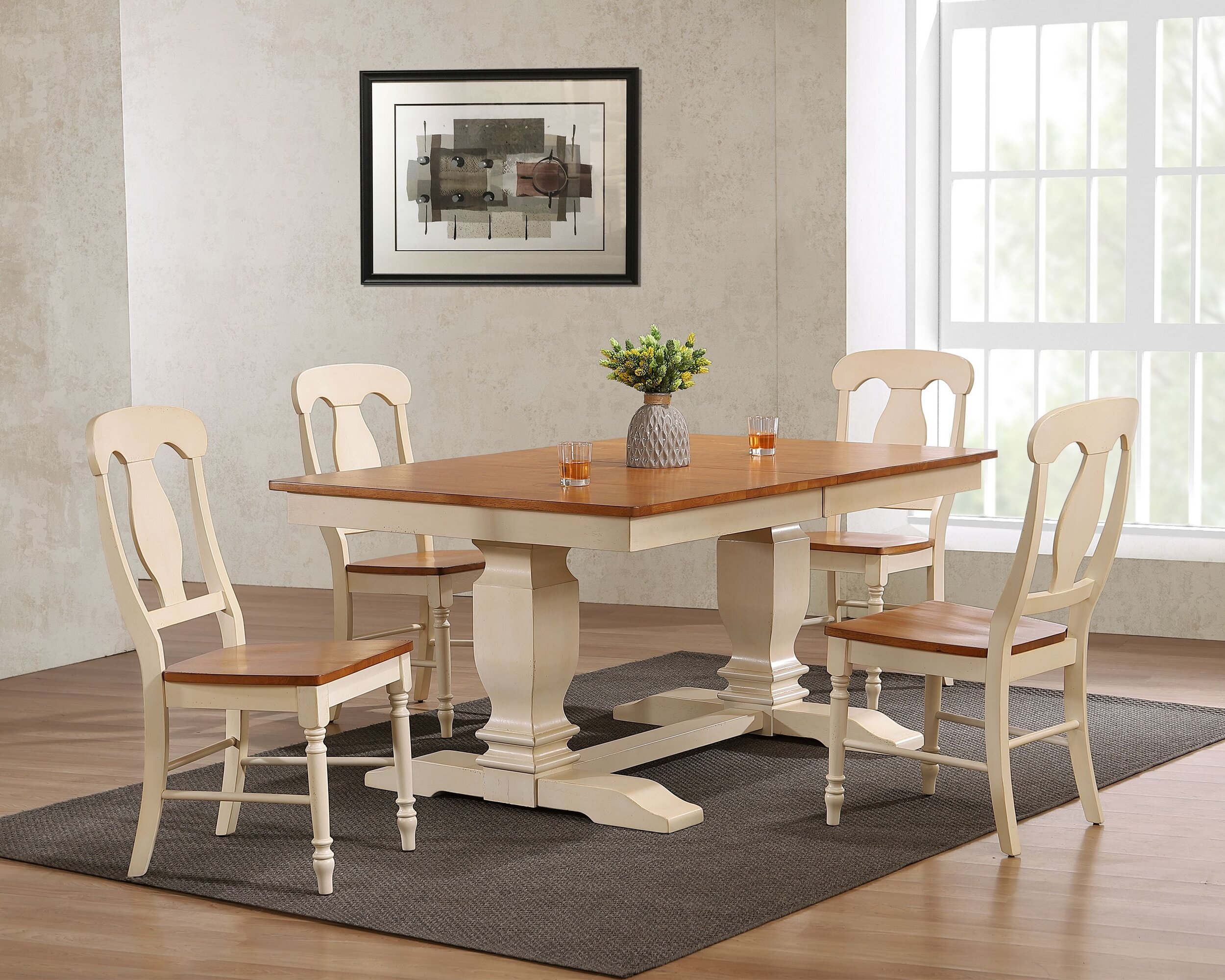 "42""x64""x82"" Double Pedestal Transitional   Antiqued Caramel/Biscotti Napoleon Back  5-Piece Dining Set"