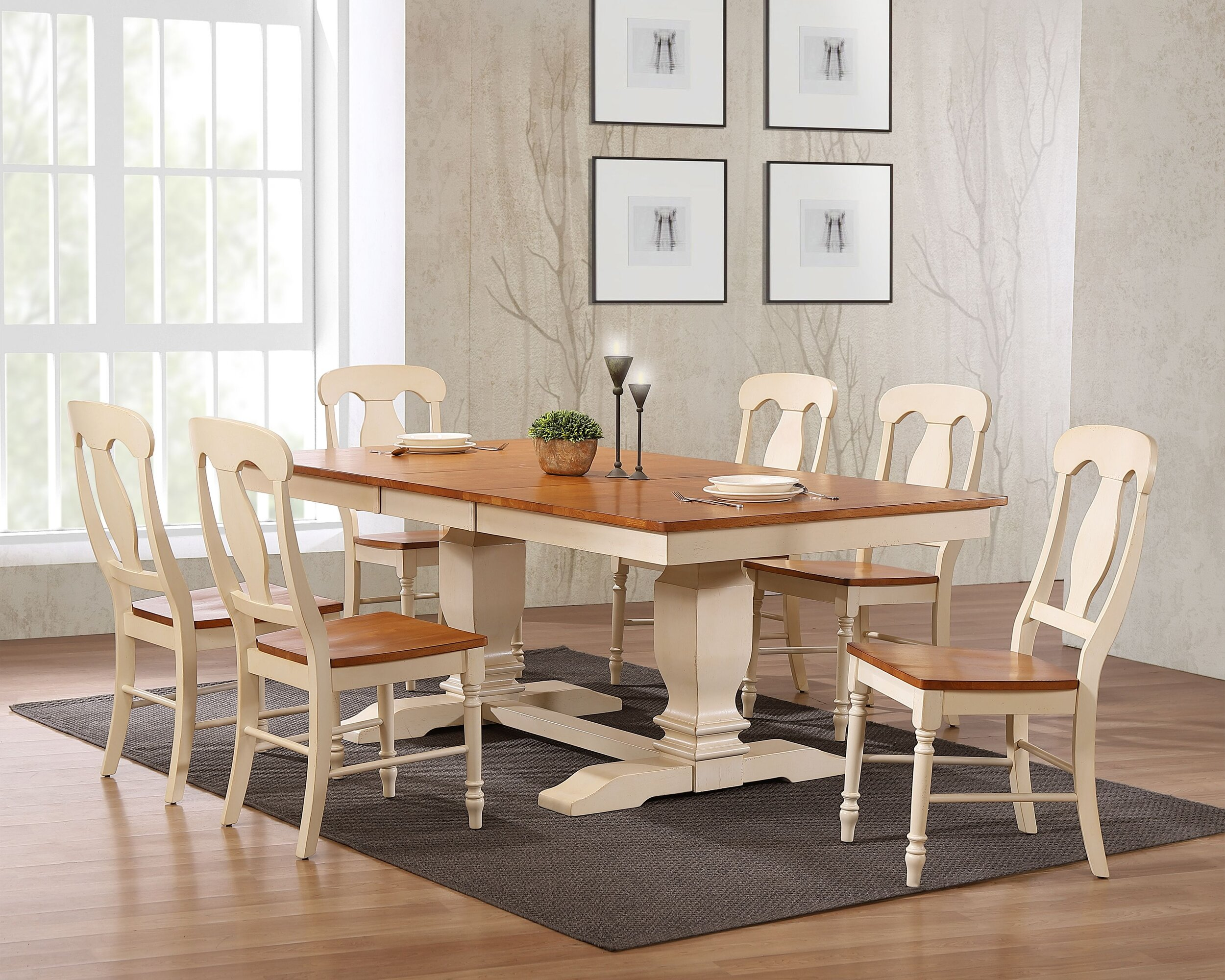"42""x64""x82"" Double Pedestal Transitional   Antiqued Caramel/Biscotti Napoleon Back 7-Piece Dining Set"