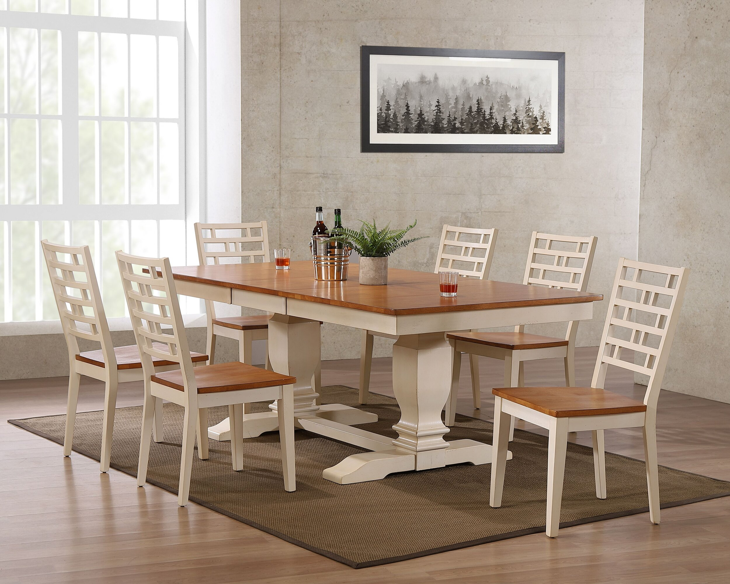 "42""x64""x82"" Double Pedestal Transitional  Designer Back  Dining Side Chair Caramel Biscotti 7-Piece  Set"