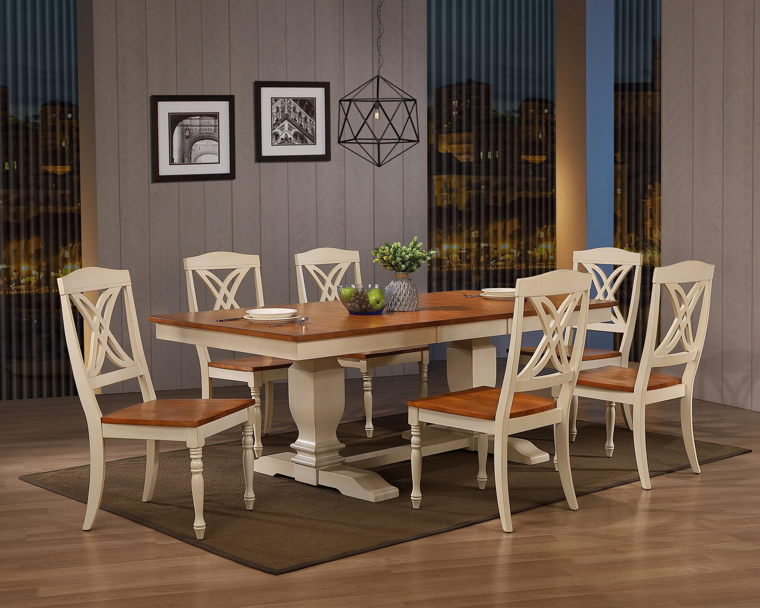 "42""x64""x82"" Double Pedestal Transitional Antiqued Caramel Biscotti Butterfly Back 7-Piece Dining Set"