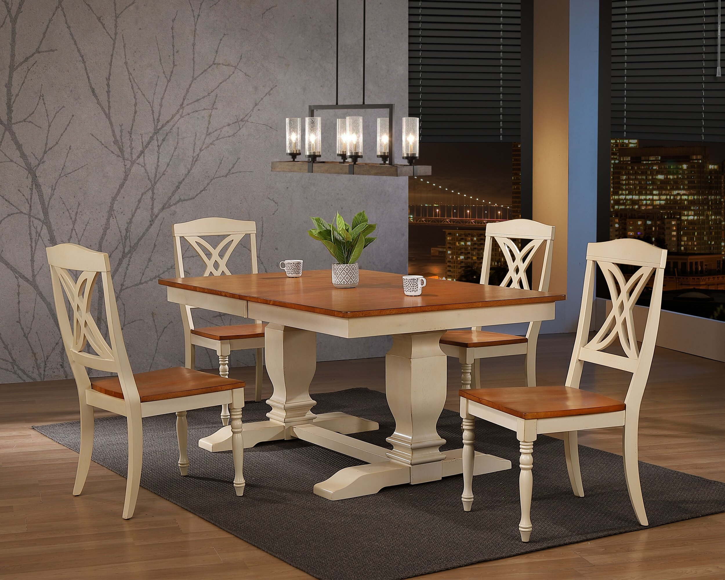 "42""x64""x82"" Double Pedestal Transitional Antiqued Caramel Biscotti Butterfly Back 5-Piece Dining Set"