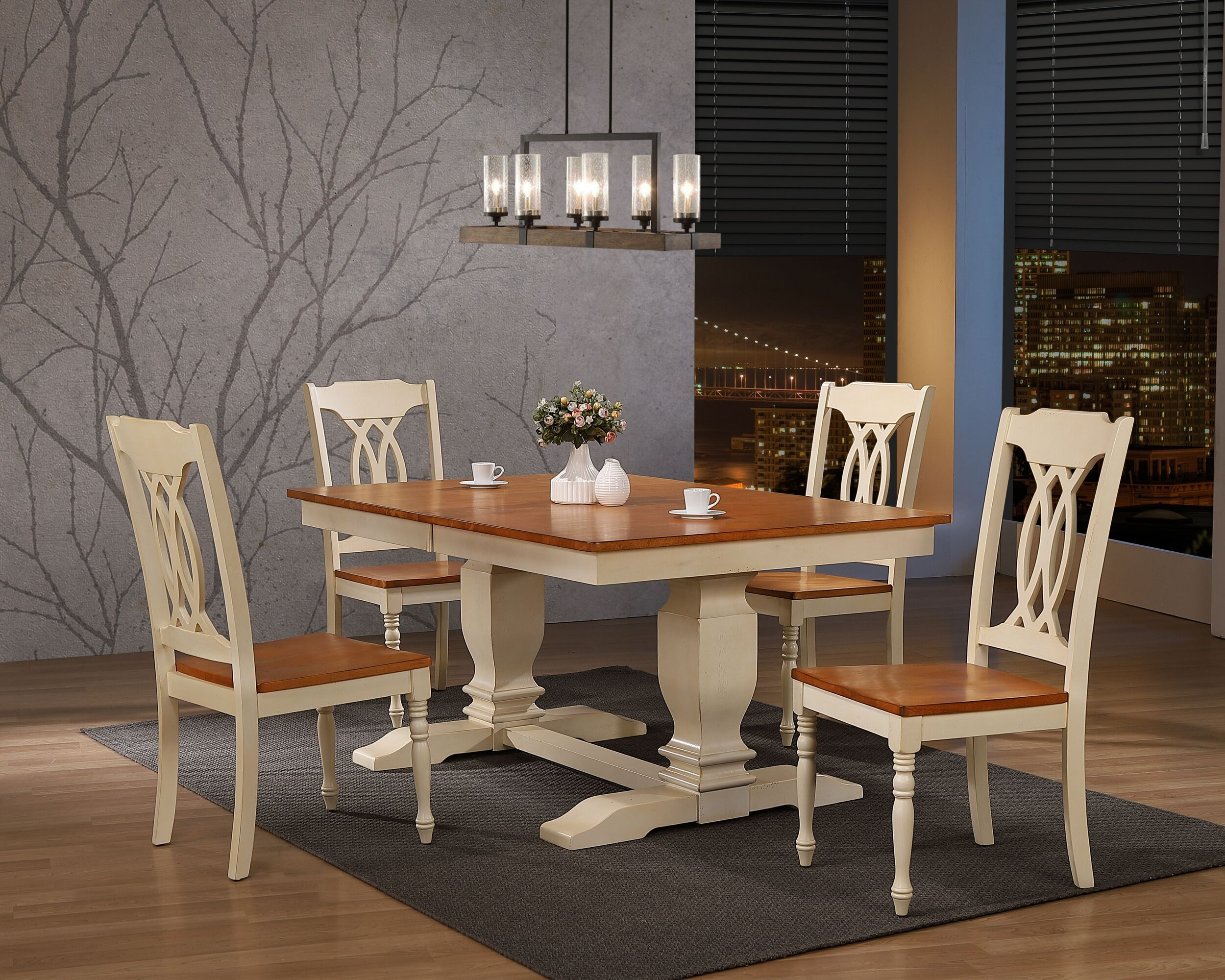 "42""x64""x82"" Double Pedestal Transitional Antiqued Caramel Biscotti Traditional Back 5-Piece Dining Set"
