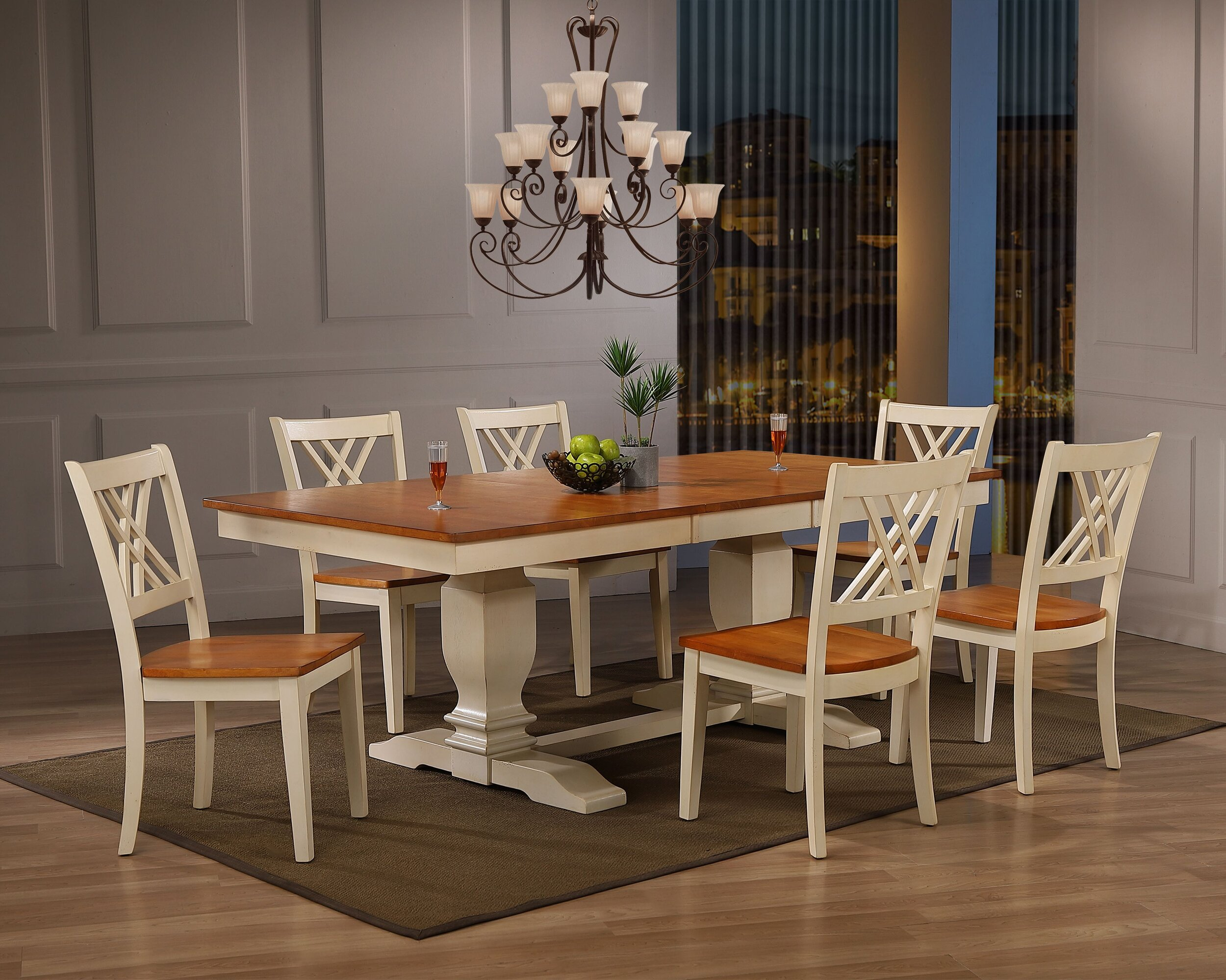 "42""x64""x82"" Double Pedestal Transitional  Antiqued Caramel Biscotti Double X-Back 7-Piece Dining Set"