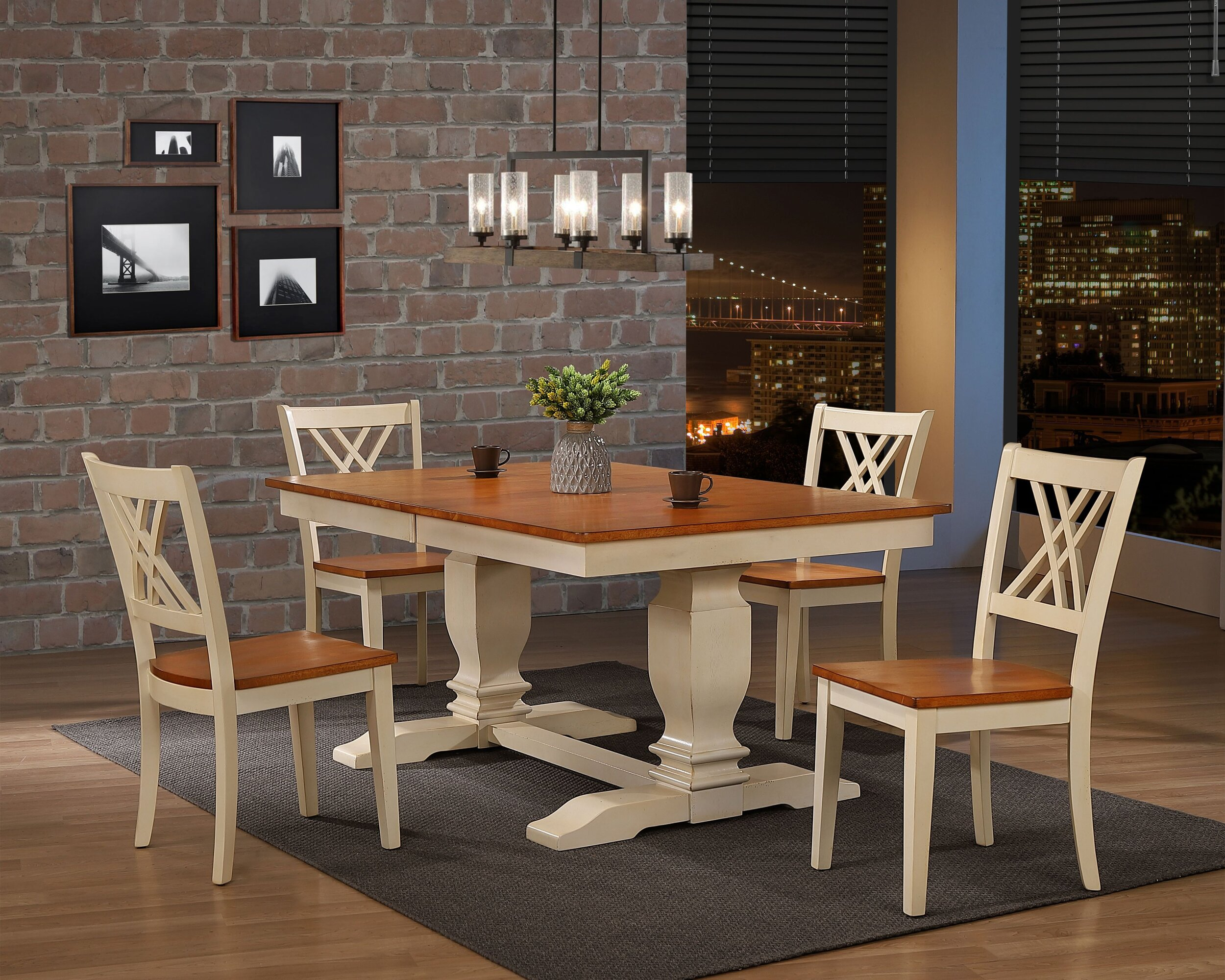 "42""x64""x82"" Double Pedestal Transitional  Antiqued Caramel Biscotti Double X-Back 5-Piece Dining Set"
