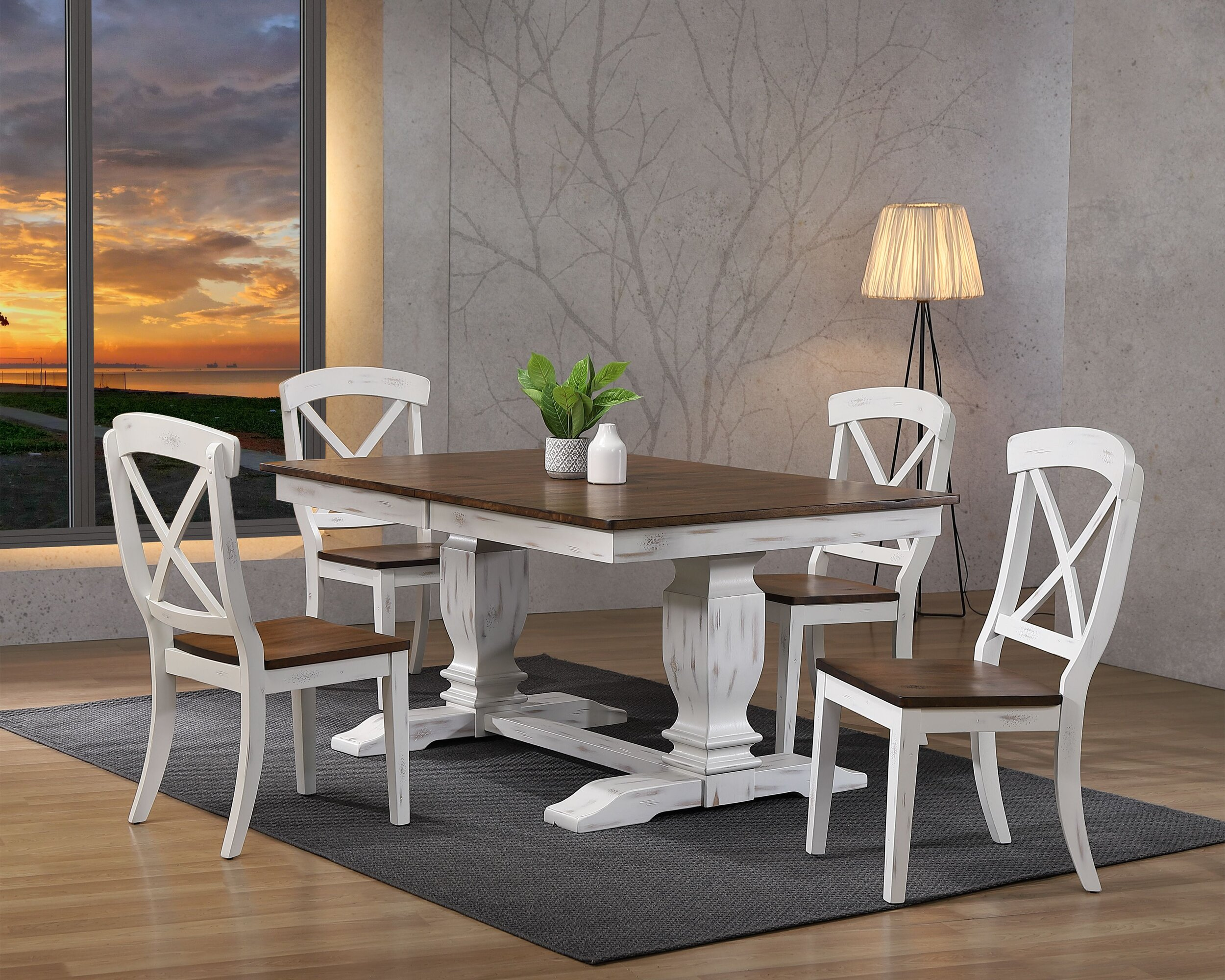 "42""x64""x82"" Double Pedestal Transitional Distressed Cocoa Brown/ Cotton White X-Back 5-Piece Dining Set"