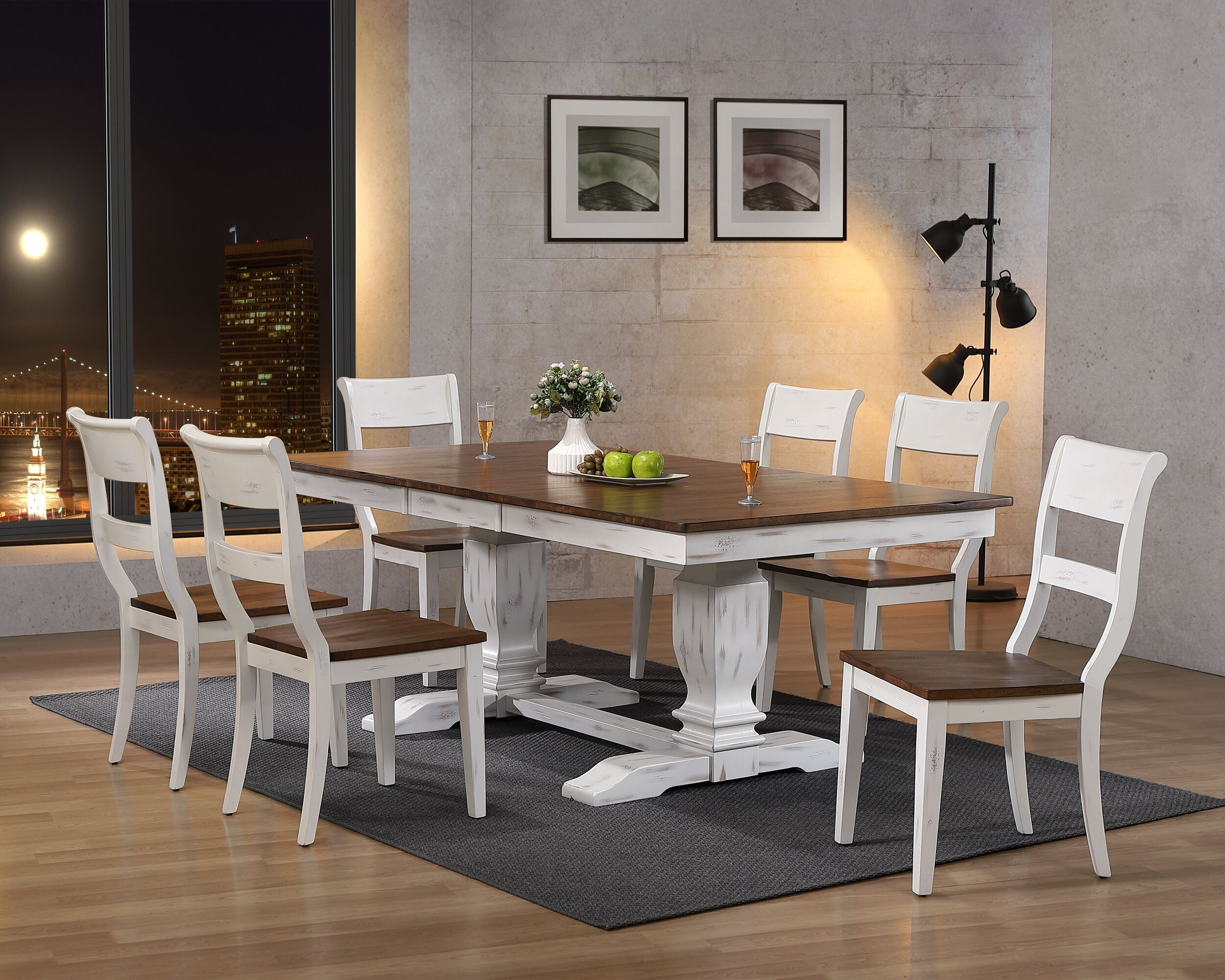 "42""x64""x82"" Double Pedestal Transitional  Distressed Cocoa Brown/ Cotton White Dining Side Chair 7-Piece Set"