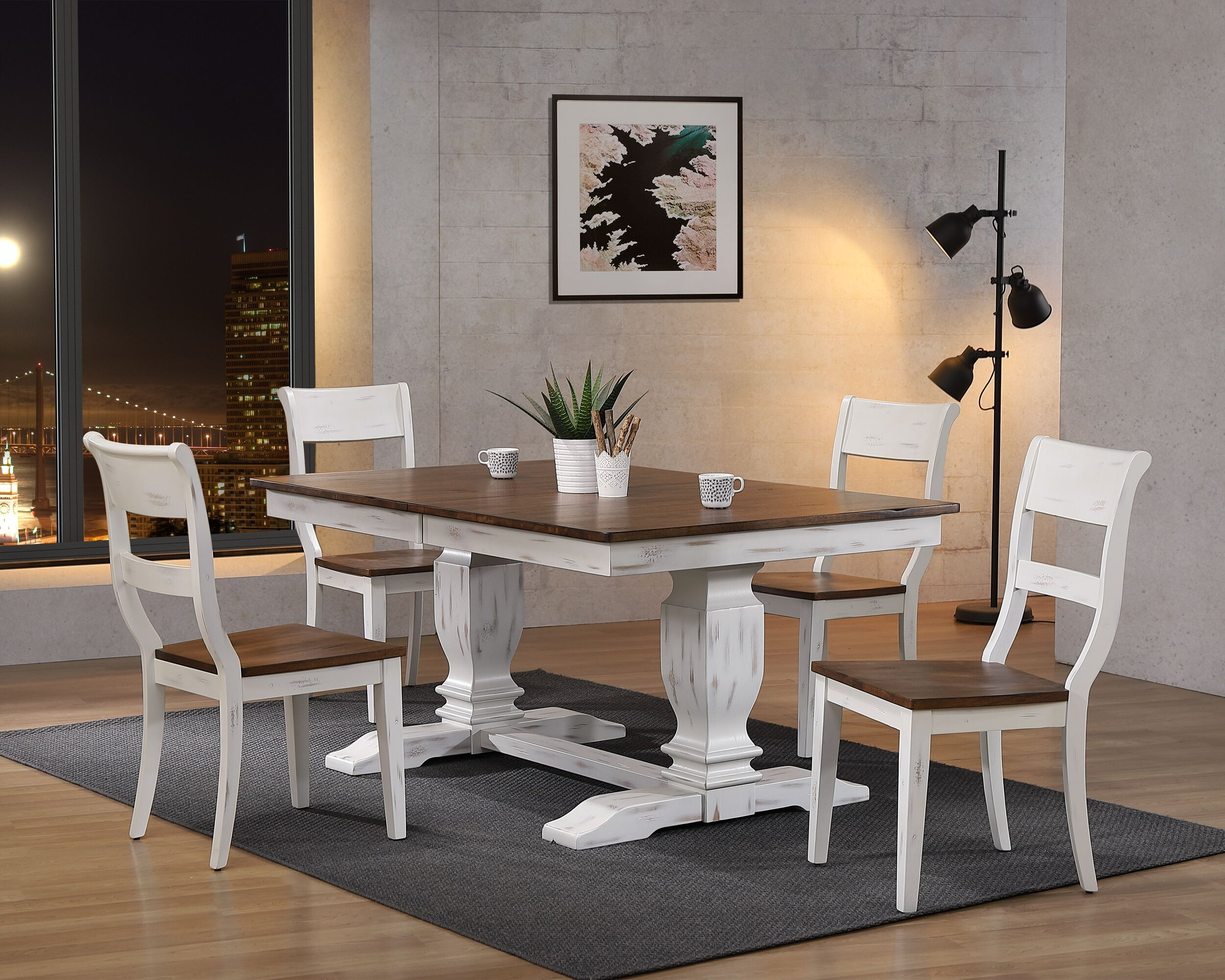 "42""x64""x82"" Double Pedestal Transitional  Distressed Cocoa Brown/ Cotton White Dining Side Chair 5-Piece Set"