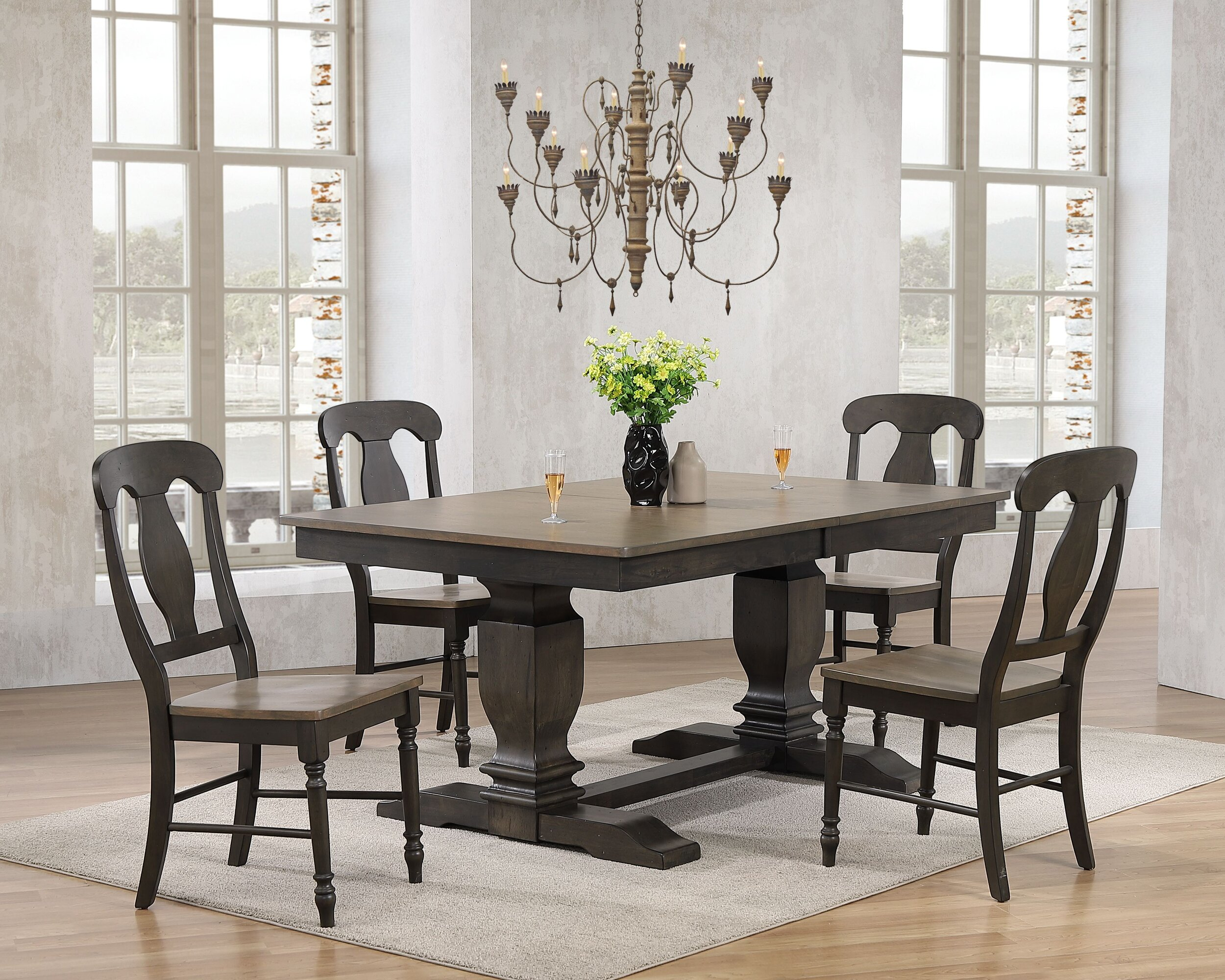"42""x64""x82"" Double Pedestal Transitional Antiqued Grey Stone Black Stone Napoleon Back 5-Piece Dining Set"