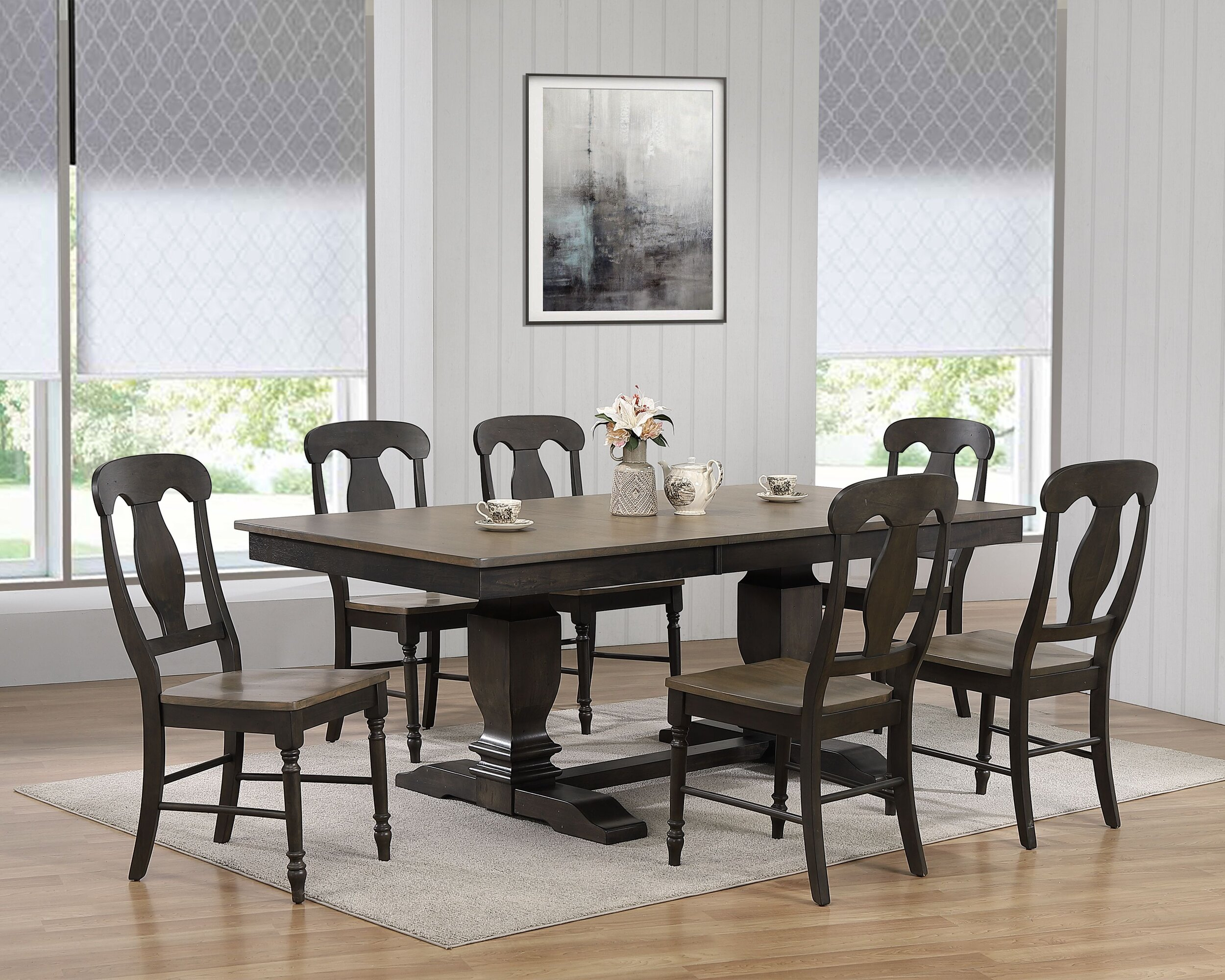 "42""x64""x82"" Double Pedestal Transitional Antiqued Grey Stone Black Stone Napoleon Back 7-Piece Dining Set"