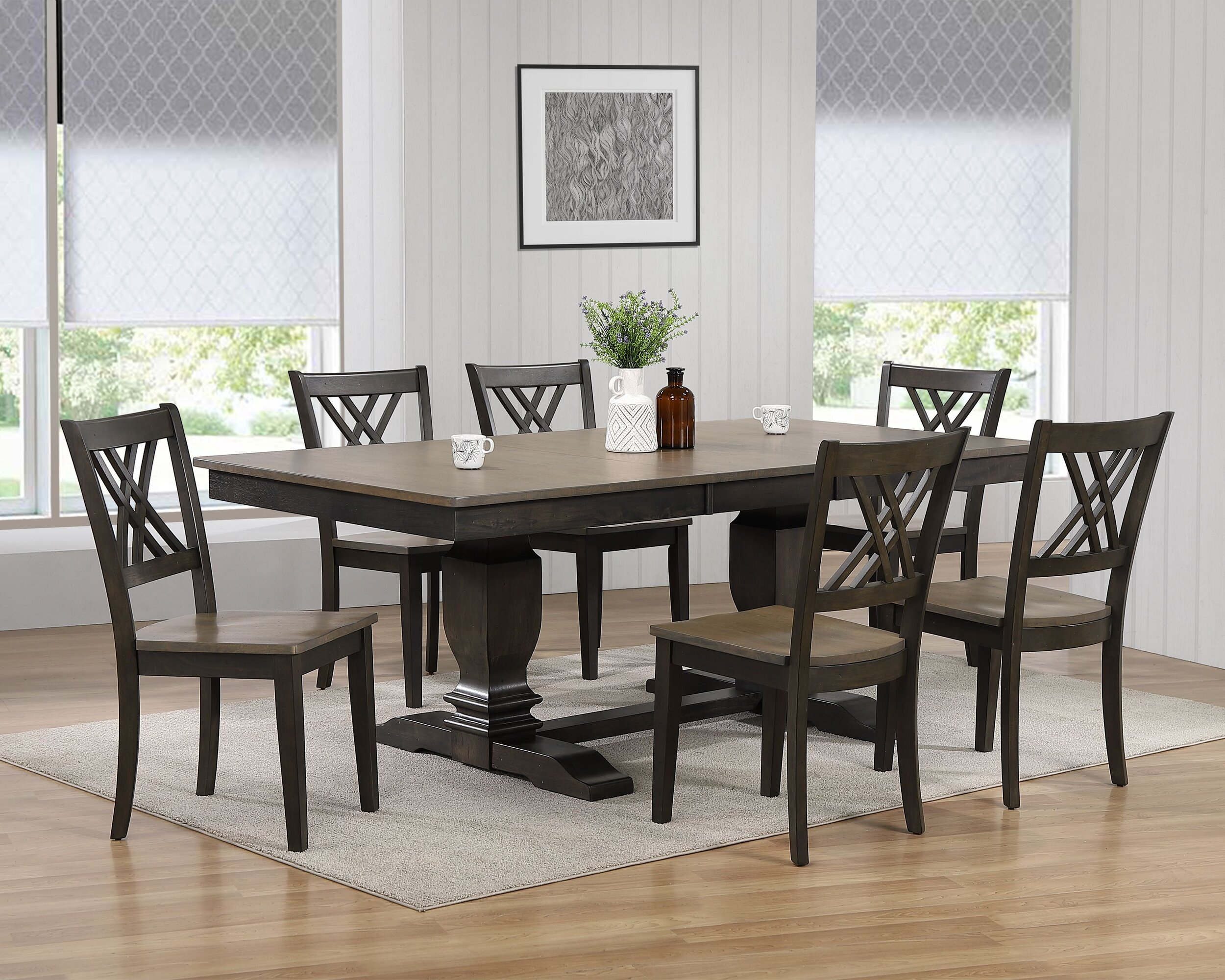 "42""x64""x82"" Double Pedestal Transitional Antiqued Grey Stone Black Stone Double X-Back 7-Piece Dining Set"