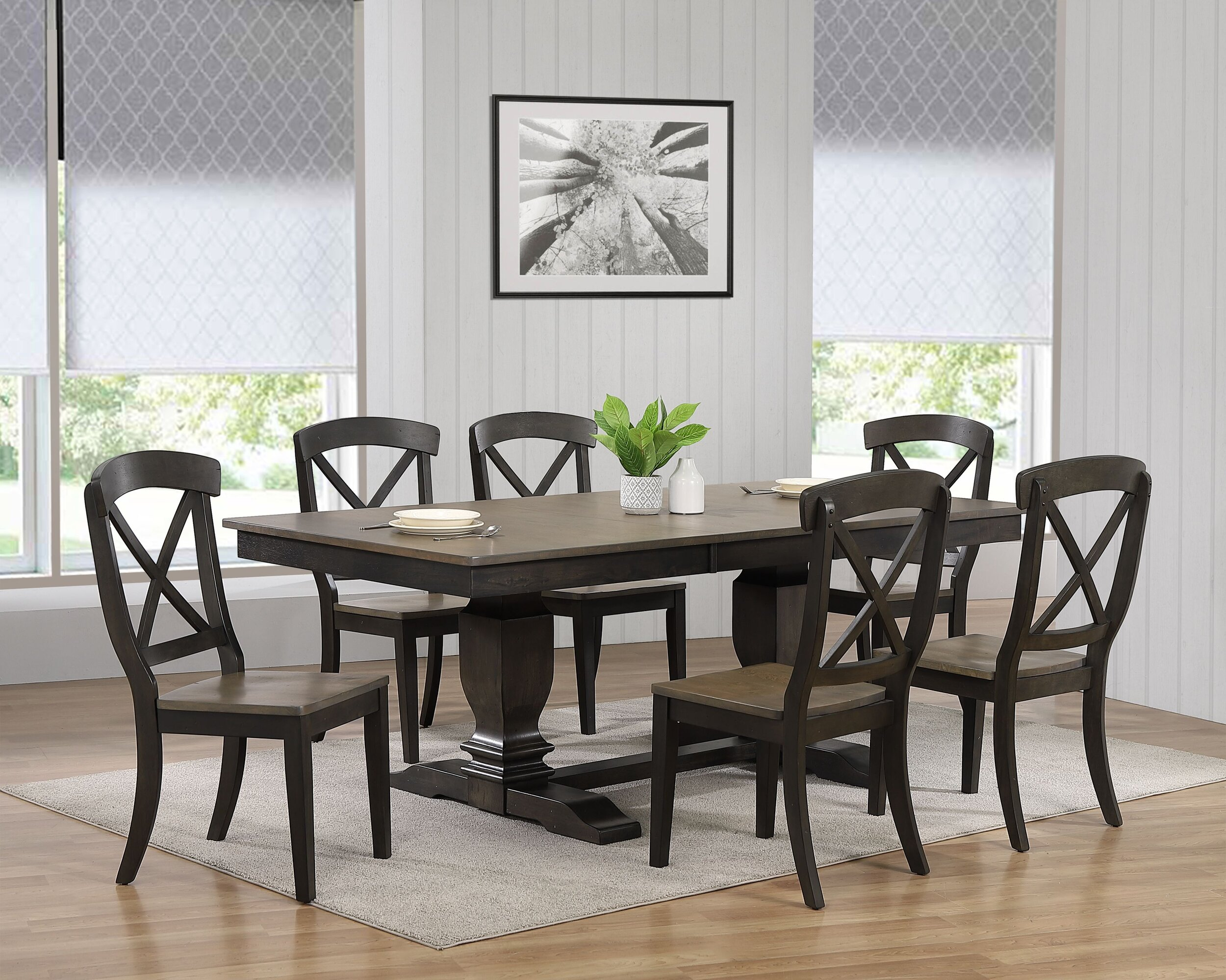 "42""x64""x82"" Double Pedestal Transitional Antique Grey Stone Black Stone X-Back 7-Piece Dining Set"