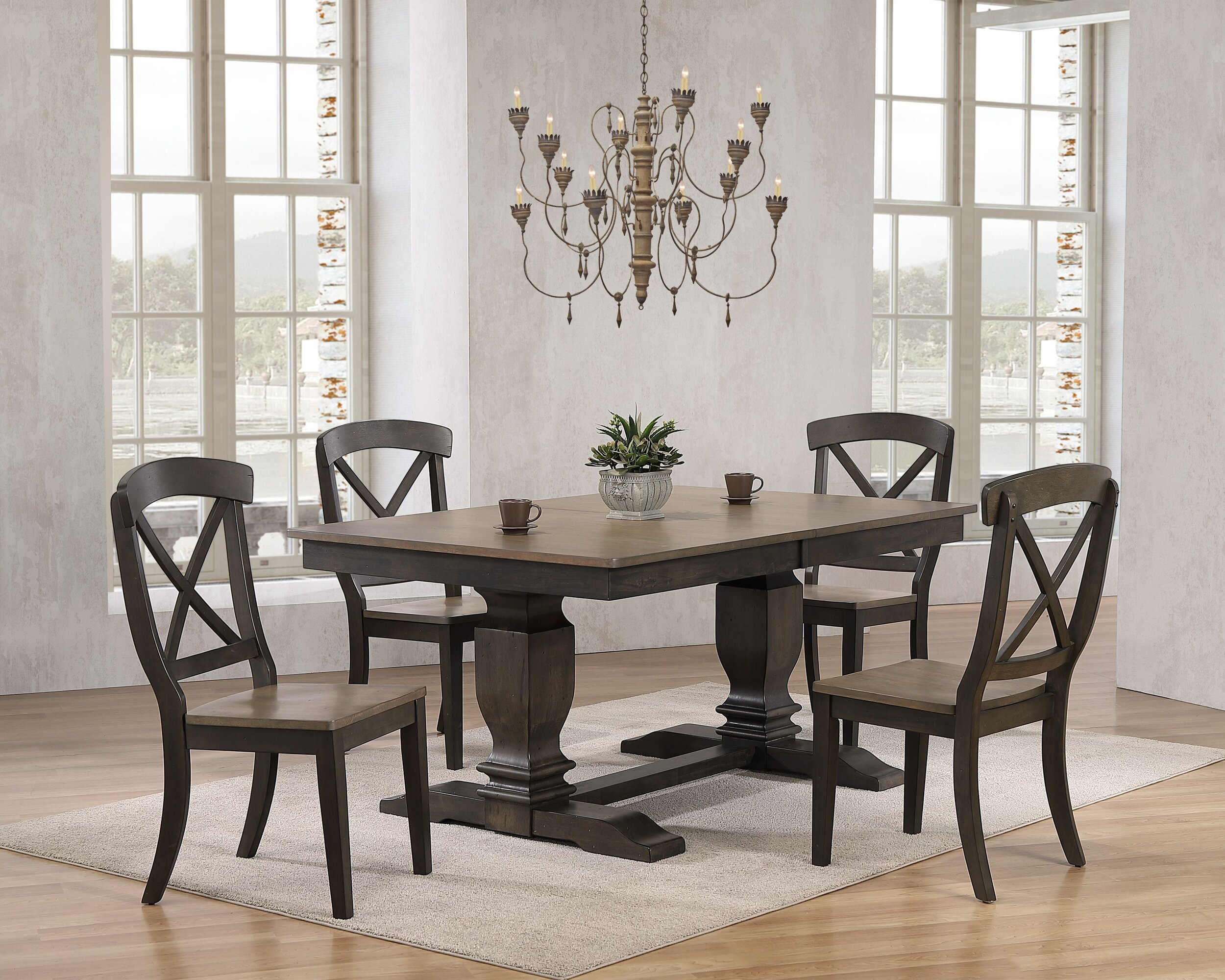 "42""x64""x82"" Double Pedestal Transitional Antique Grey Stone Black Stone X-Back 5-Piece Dining Set"