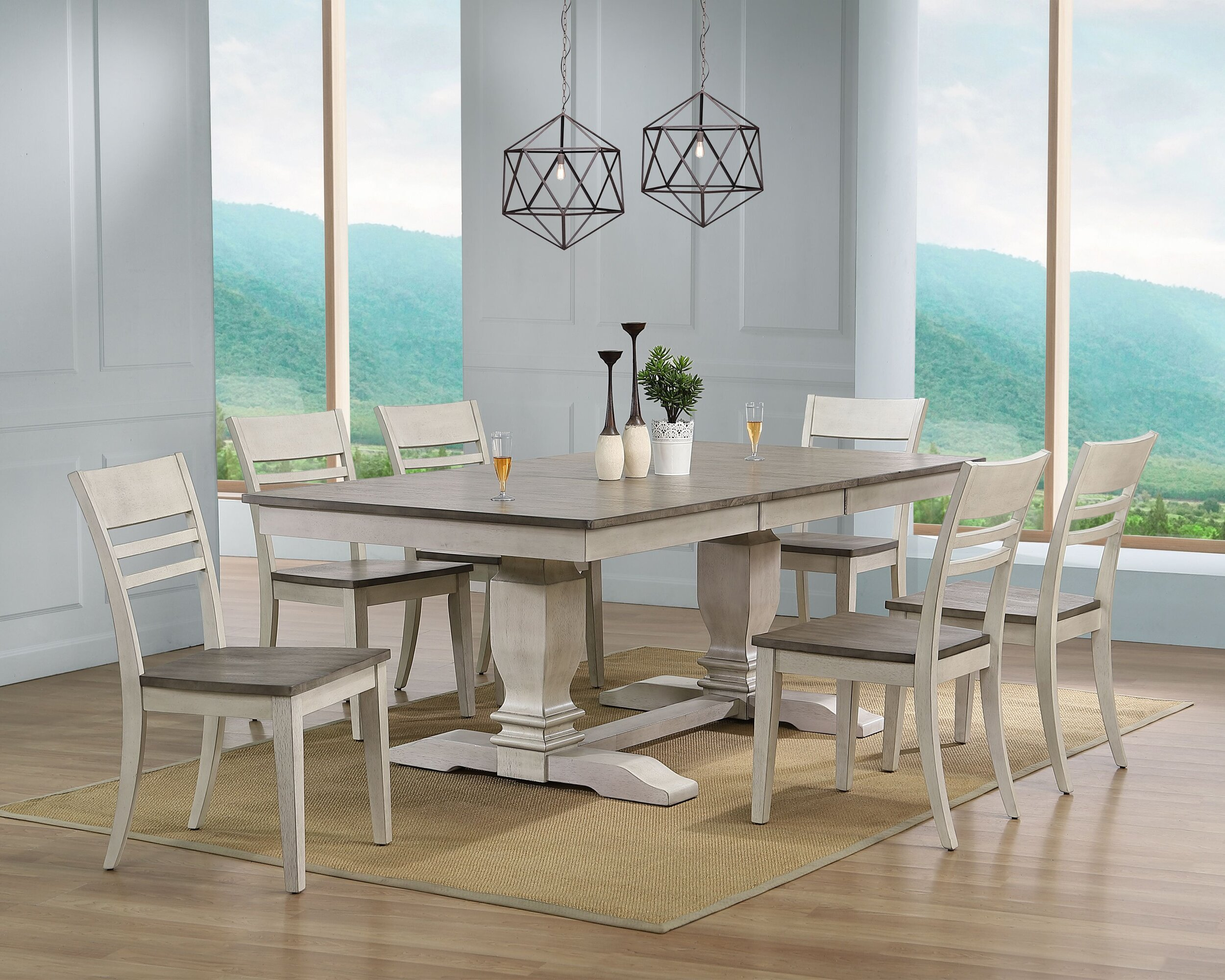 """42""""x64""""x82"""" Double Pedestal Transitional Dinning Side chair Ash/ Stormy White 7- Piece Set"""