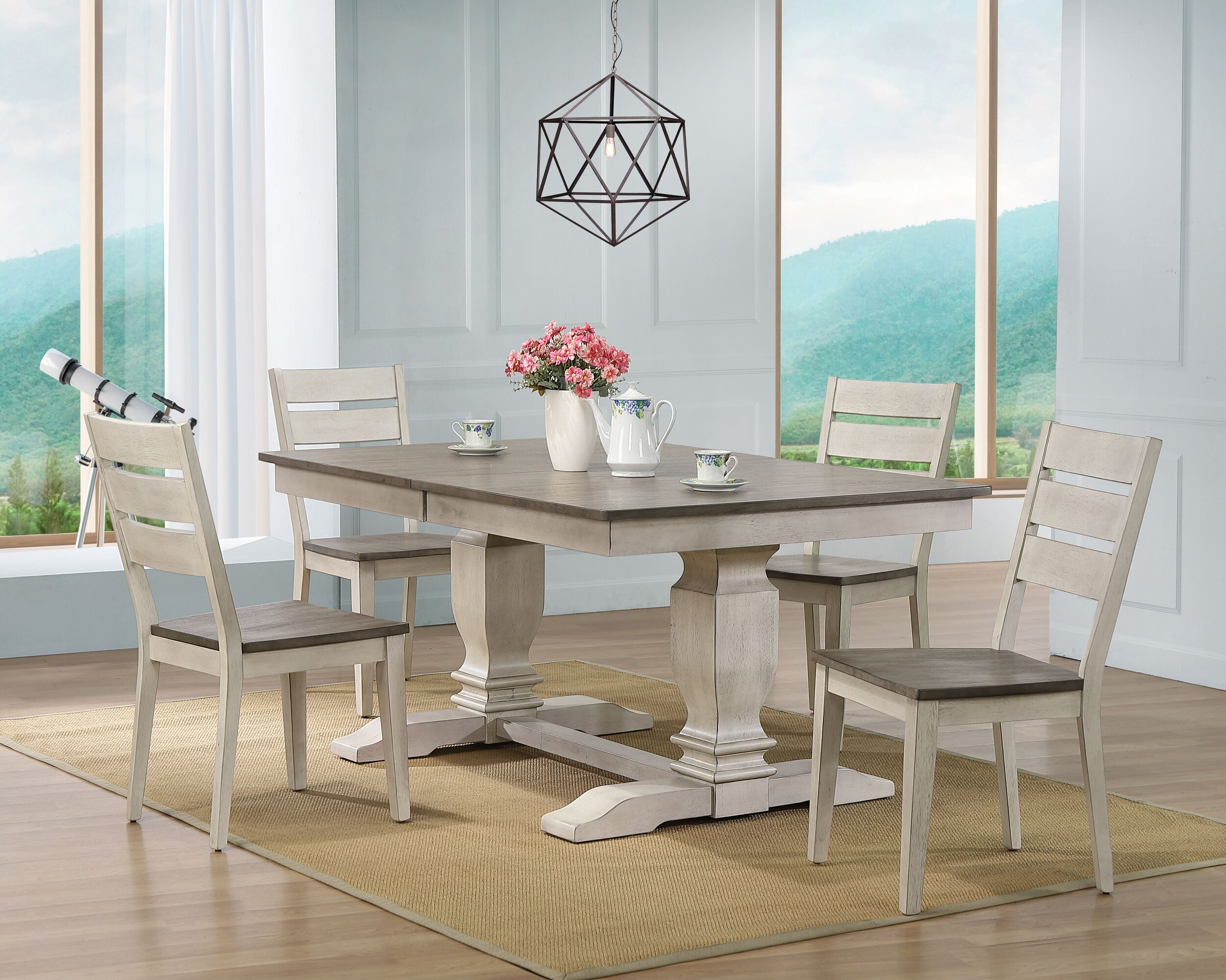 """42""""X64""""X82"""" DOUBLE PEDESTAL TRANSITIONAL LADDER BACK SIDE CHAIR ASH/ STORMY WHITE 5- PIECE SET"""