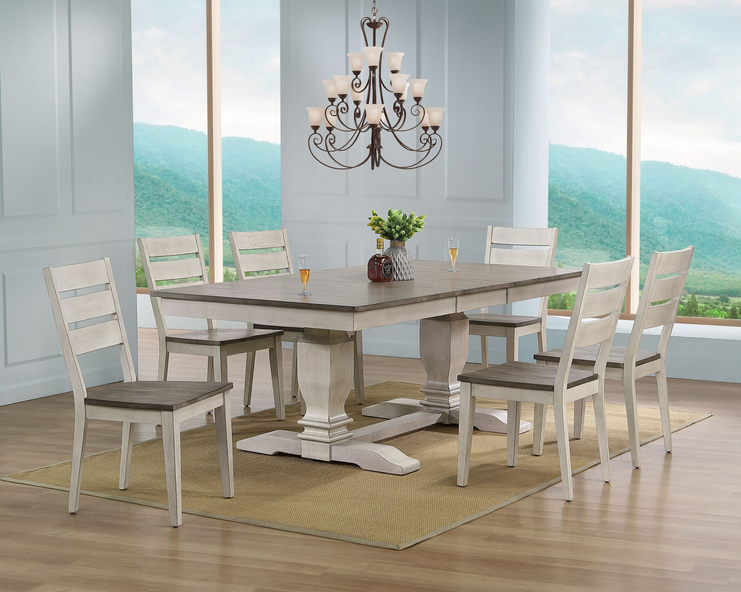 """42""""X64""""X82"""" DOUBLE PEDESTAL TRANSITIONAL LADDER BACK SIDE CHAIR ASH/ STORMY WHITE 7- PIECE SET"""