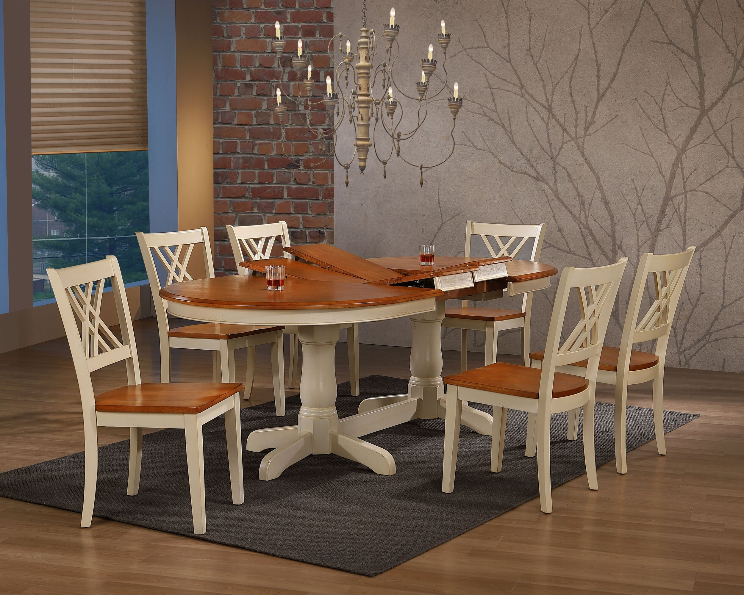 "42""X66""X78""X90"" OVAL CARAMEL BISCOTTI DOUBLE X-BACK 7-PIECE DINING SET"