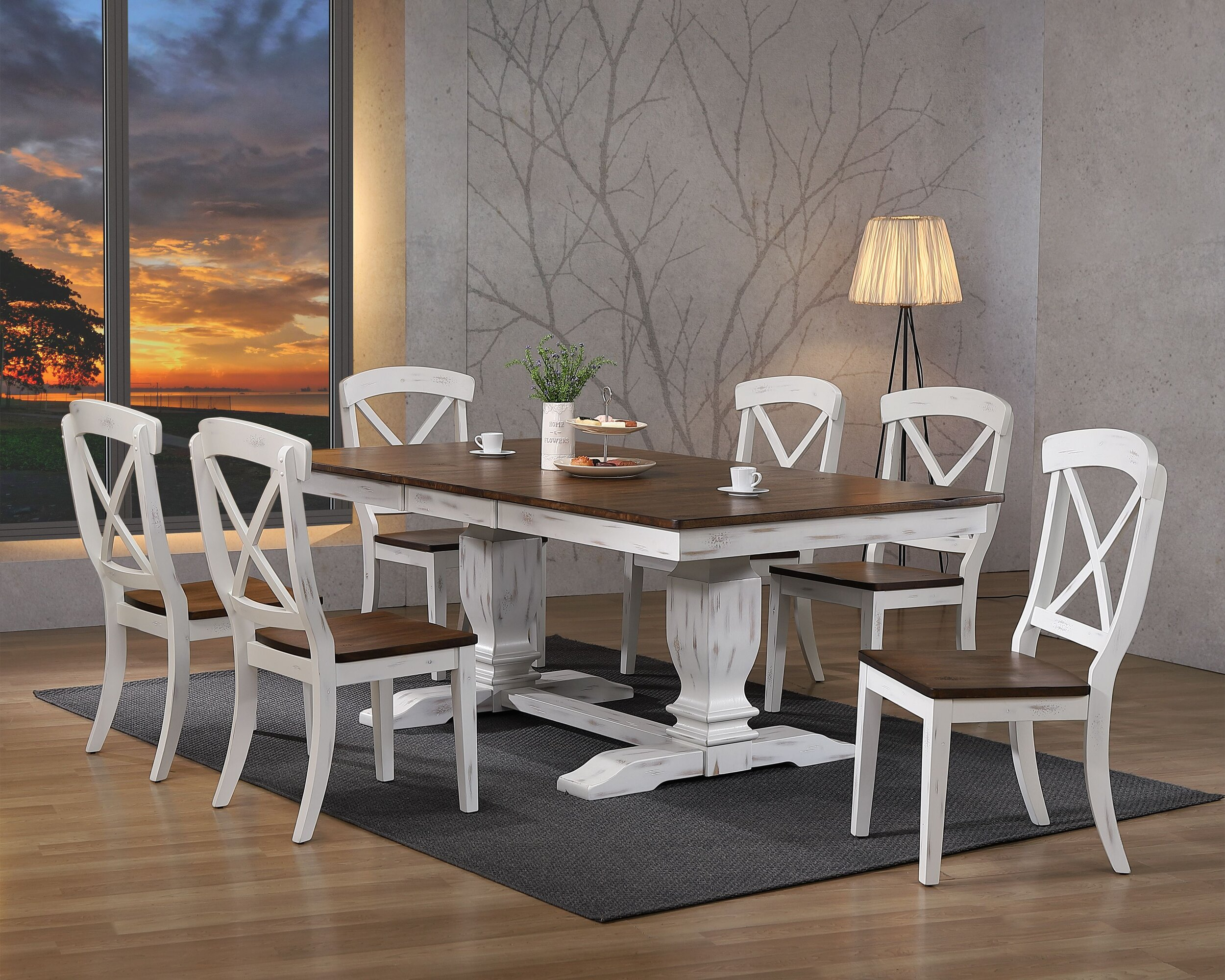 "42""x64""x82"" Double Pedestal Transitional Distressed Cocoa Brown/ Cotton White X-Back  7-Piece Dining Set"