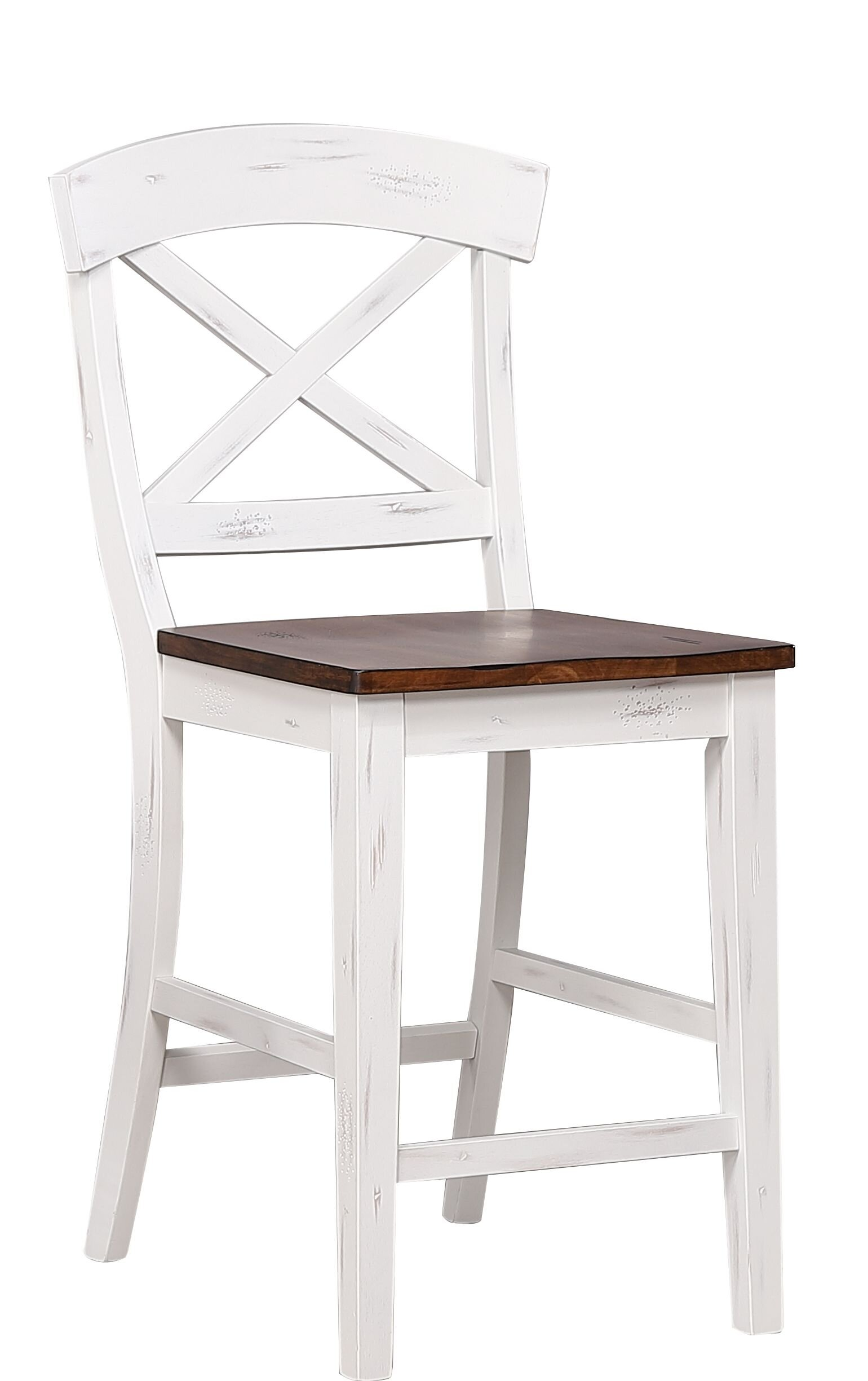 "Transitional X-Back 24"" Counter Stool In Distressed Cotton White/ Cocoa Brown"