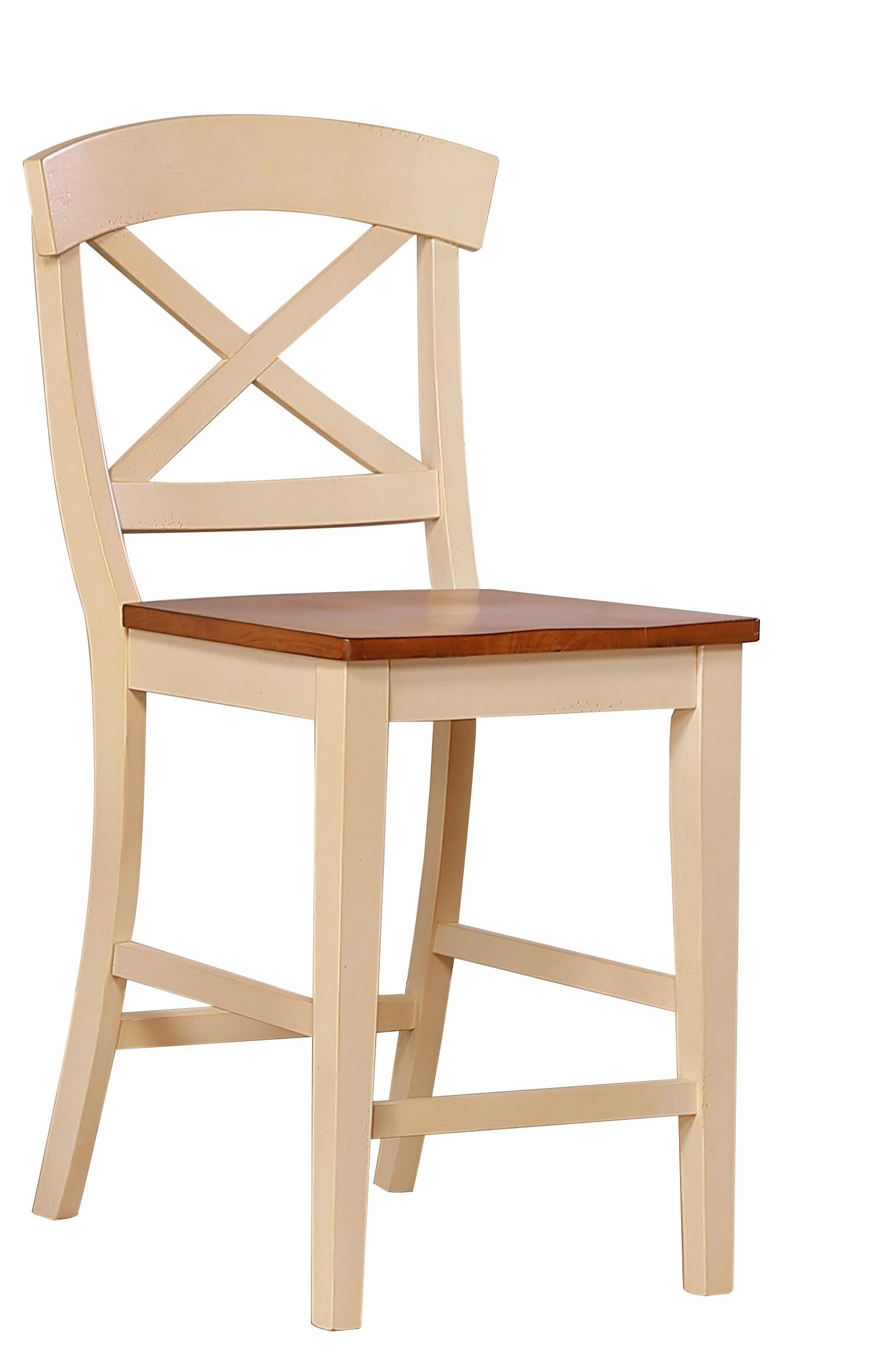 "Transitional X-Back 24"" Counter Height Stool In Caramel Biscotti"