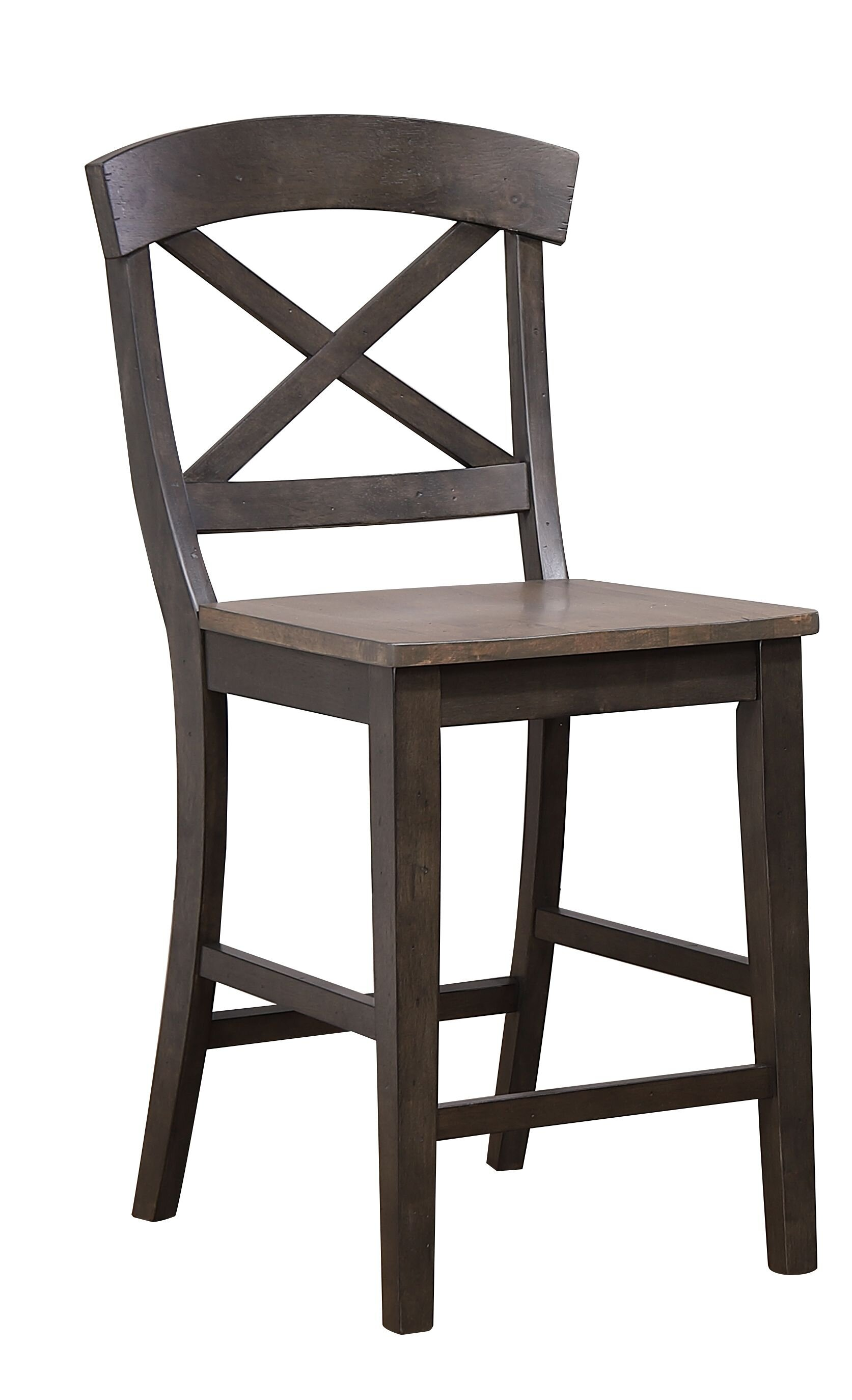 "Transitional X-Back 24"" Counter Height Stool In Grey Stone Black Stone"