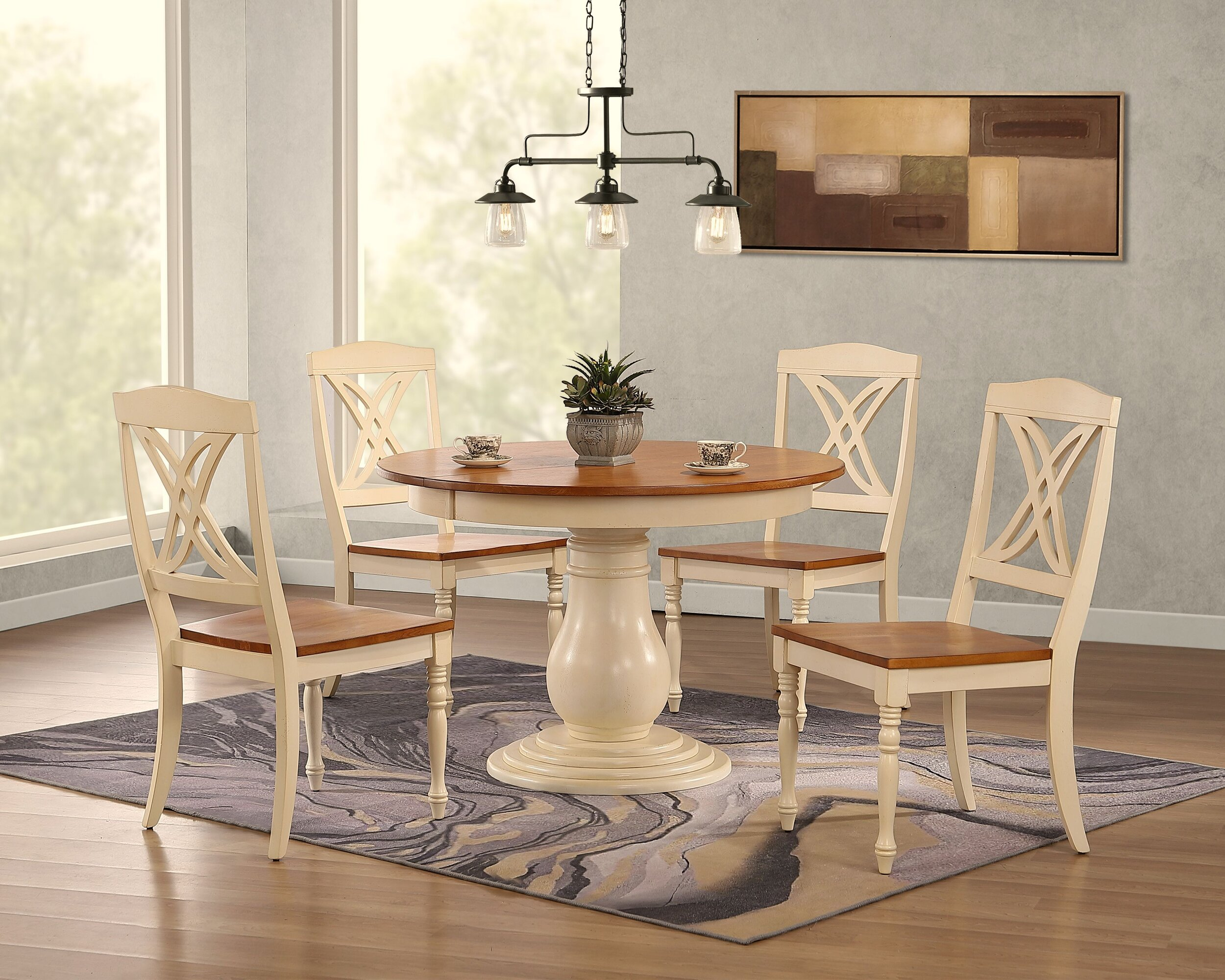 """45""""x45""""x63"""" Antiqued Caramel Biscotti Butterfly Back 5-Piece Bella Dining Set"""