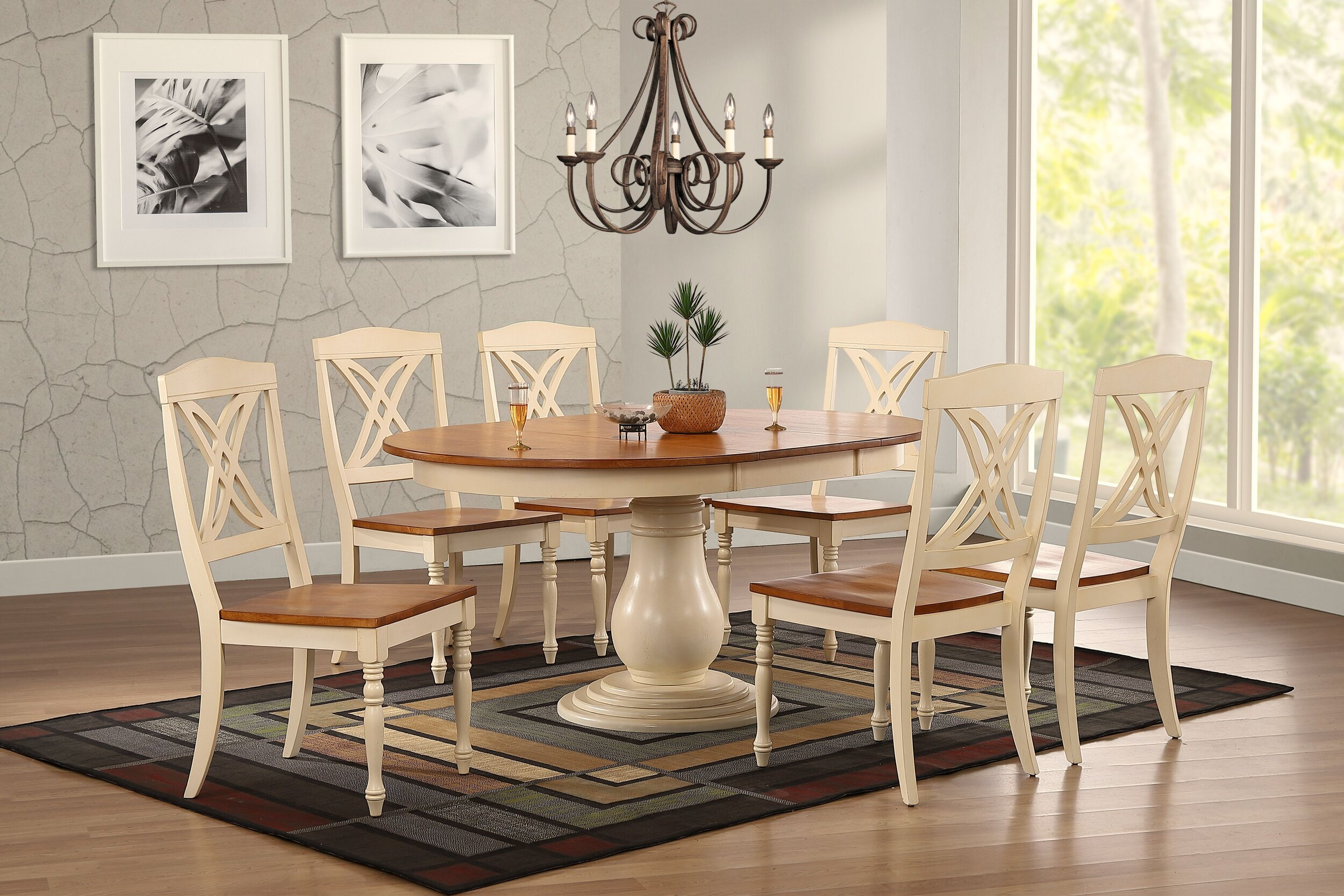 """45""""x45""""x63"""" Antiqued Caramel Biscotti Butterfly Back 7-Piece Bella Dining Set"""
