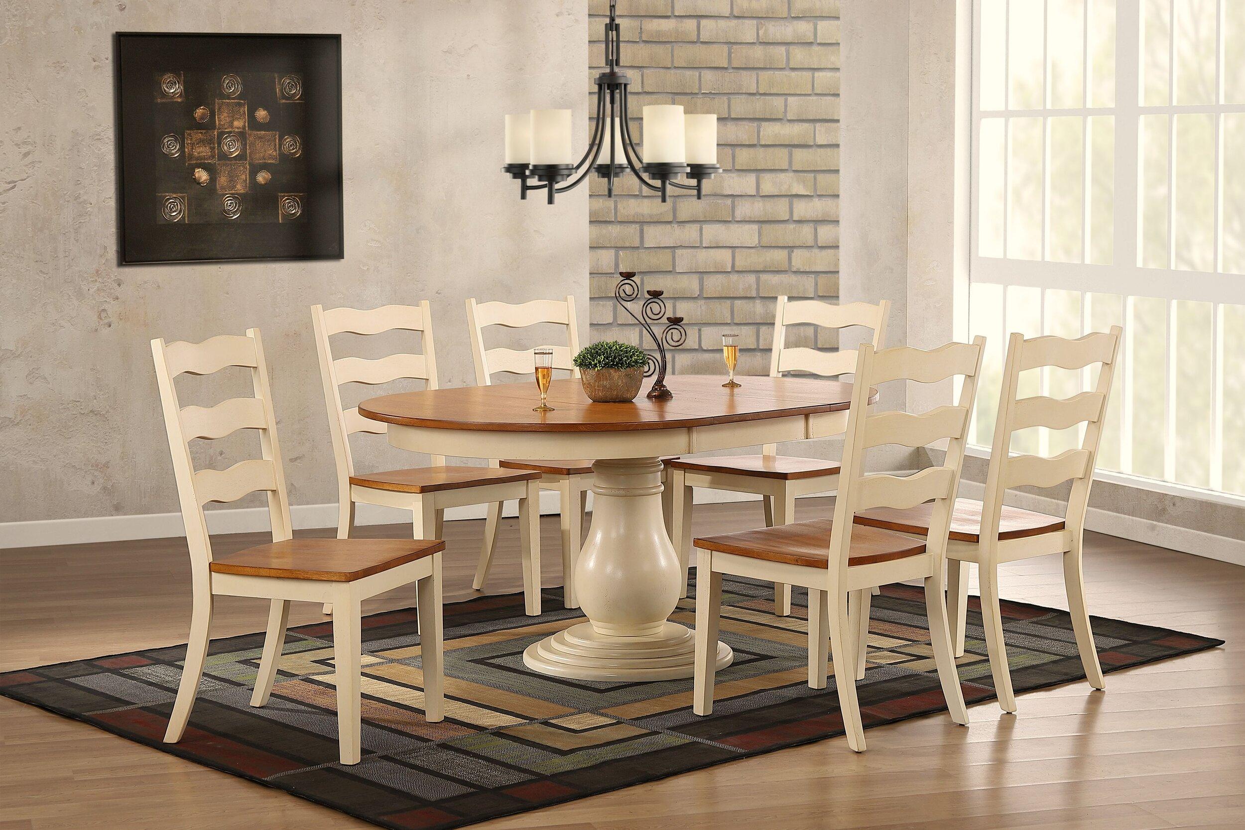 "45""x45""x63"" Antiqued Caramel Biscotti Transitional Ladder Back  7-Piece Bella Dining Set"