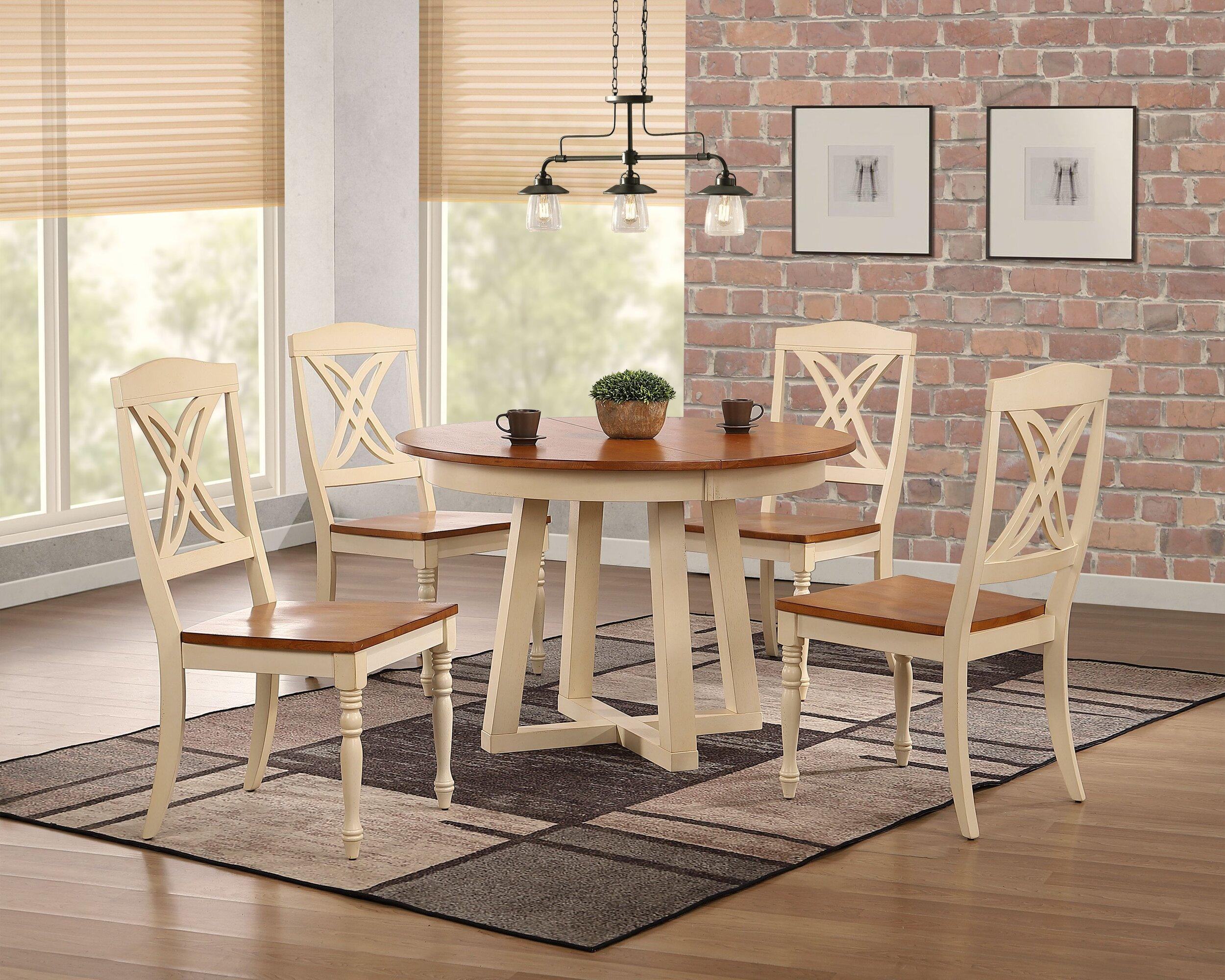 "45""x45""x63"" Antiqued Caramel Biscotti Butterfly Back 5-Piece Cross Pedestal Dining Set"