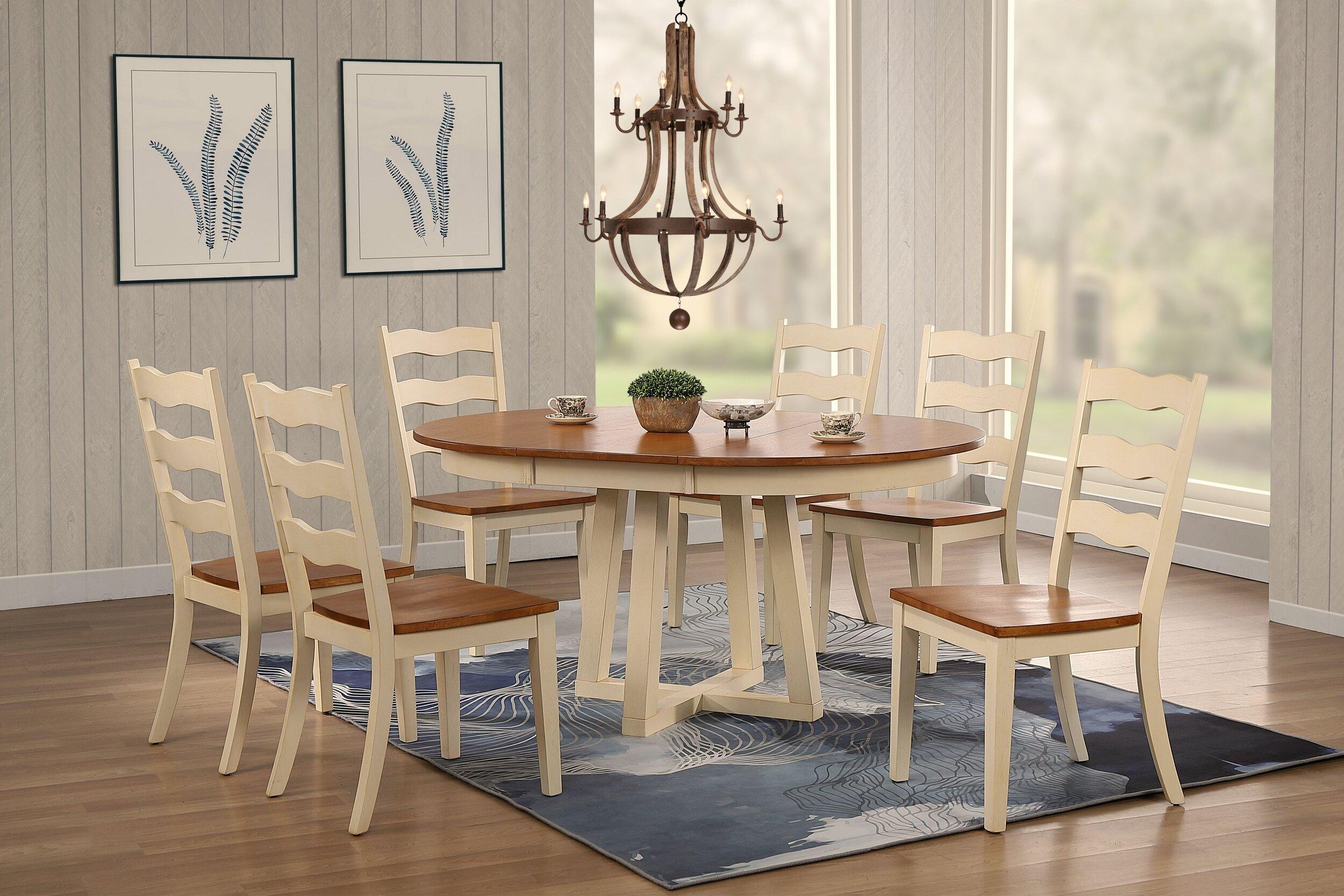 "45""x45""x63"" Antiqued Caramel Biscotti Transitional Ladder Back 7-Piece Cross Pedestal Dining Set"